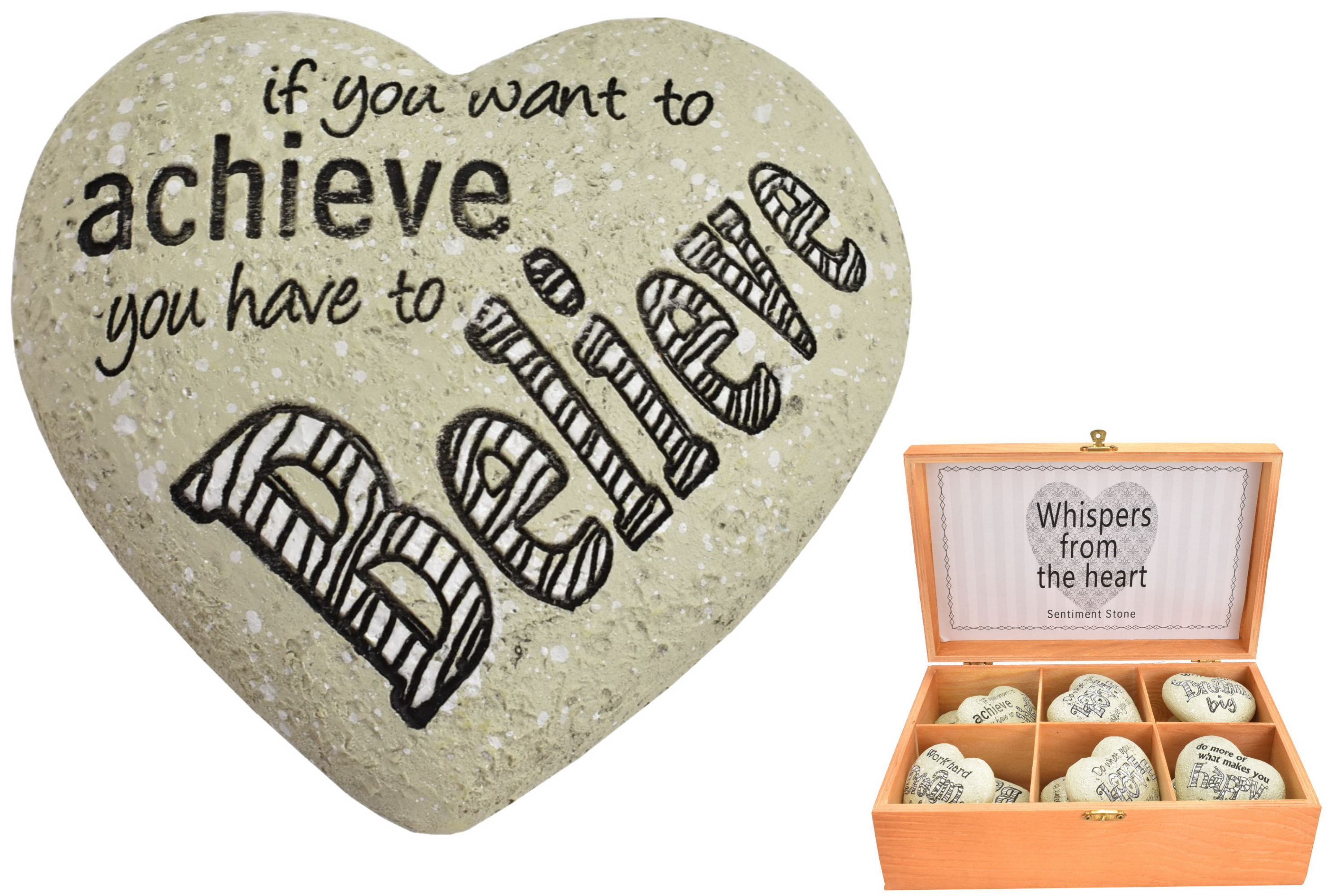 Heart Shaped Sentiment Stone (Assorted) In Display Box