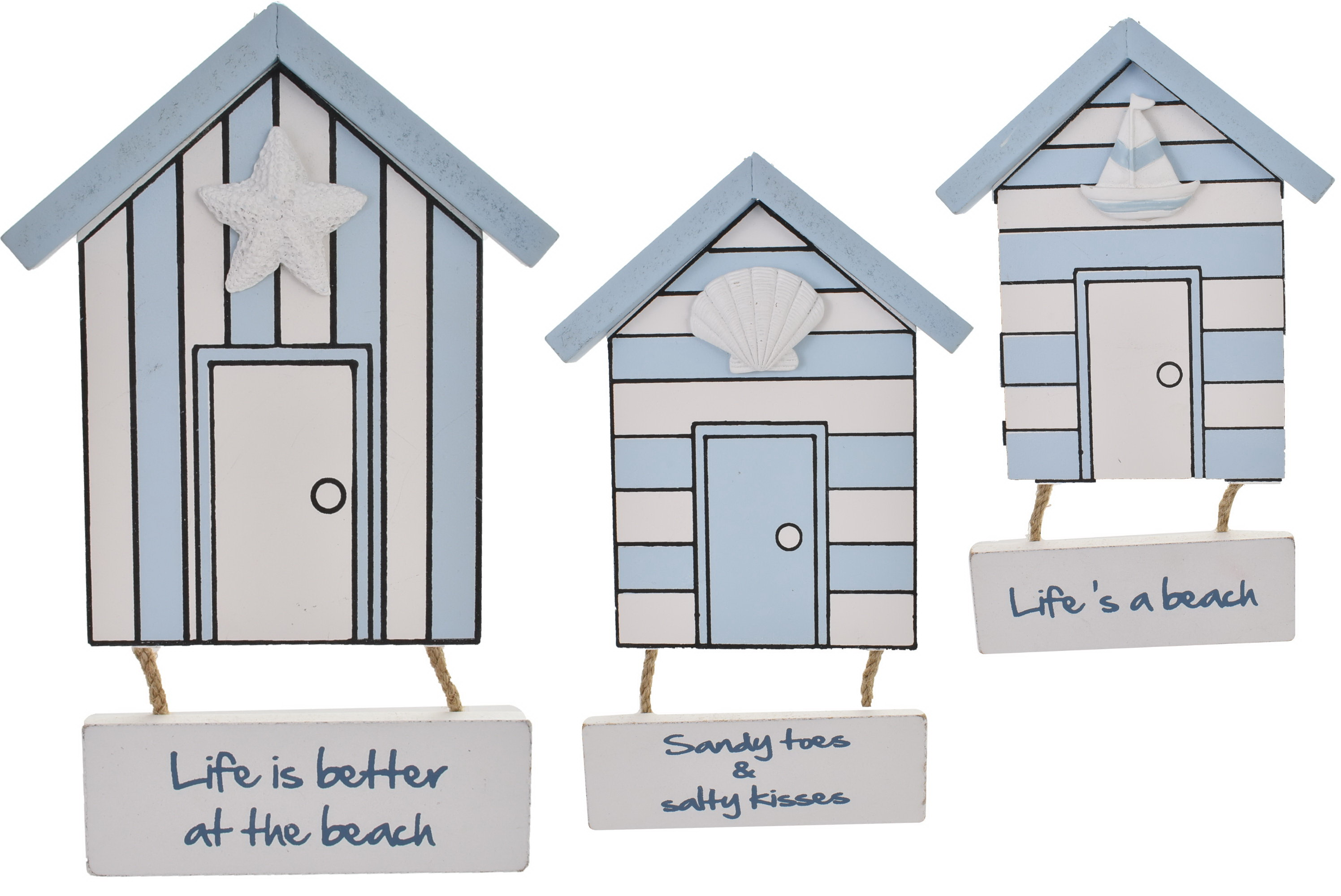 Wooden Beach Hut Hanger 4 Assorted Designs