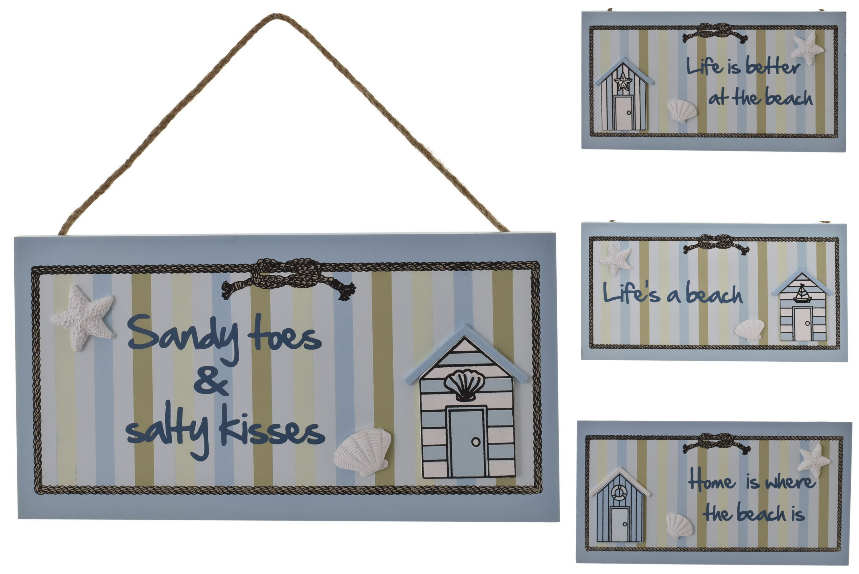 Wooden Beach Hut Plaque 23cm x 13cm 4 Assorted Designs