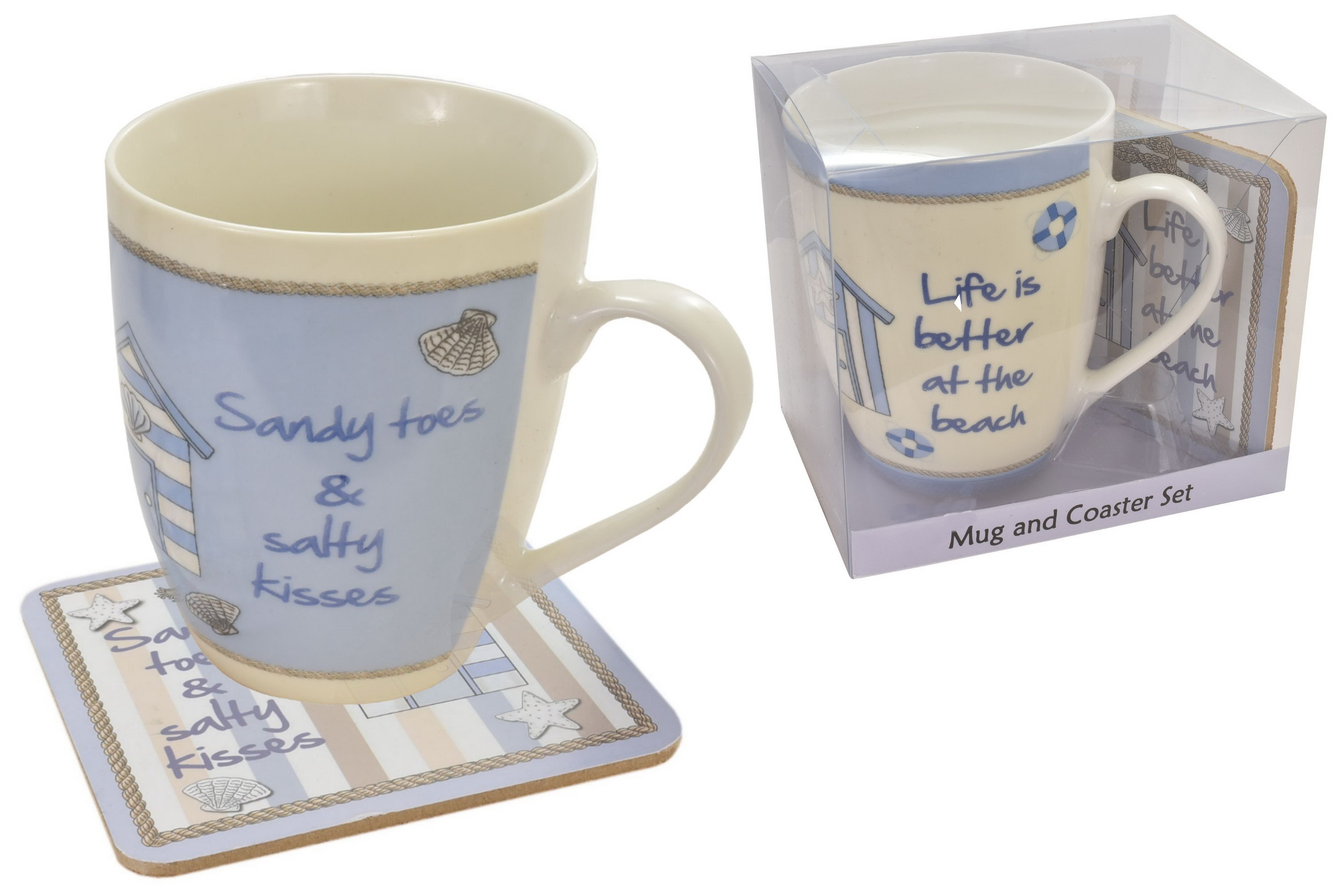 Beach Hut Design Mug & Coaster Set (2 Asst) In Box