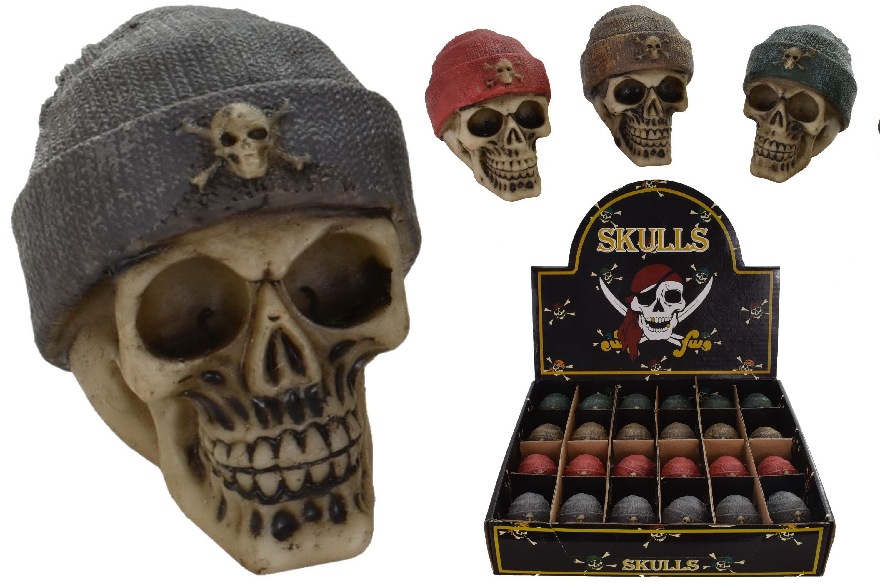 Resin Skull With Beannie Hat 5cm (4 Asst) In Display Bx