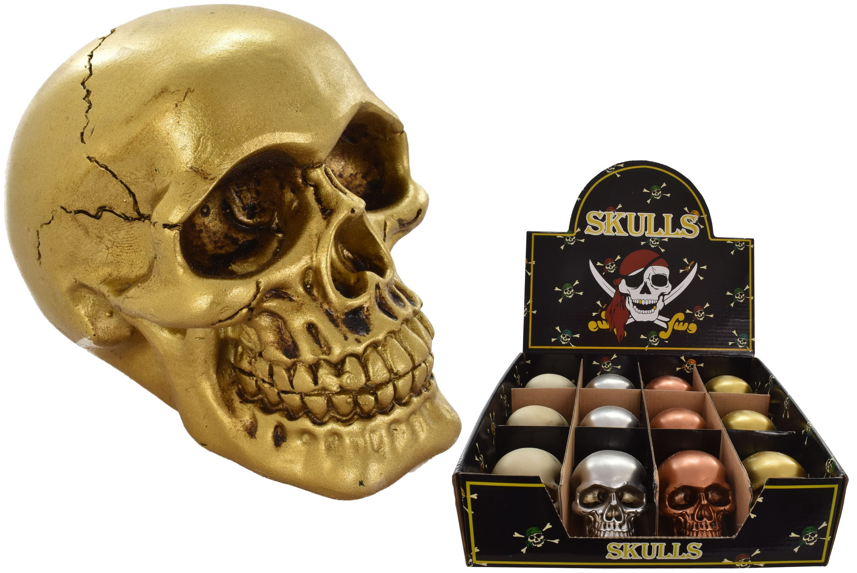 Resin Skull Ornament 6.5cm (4 Assorted) In Display Box