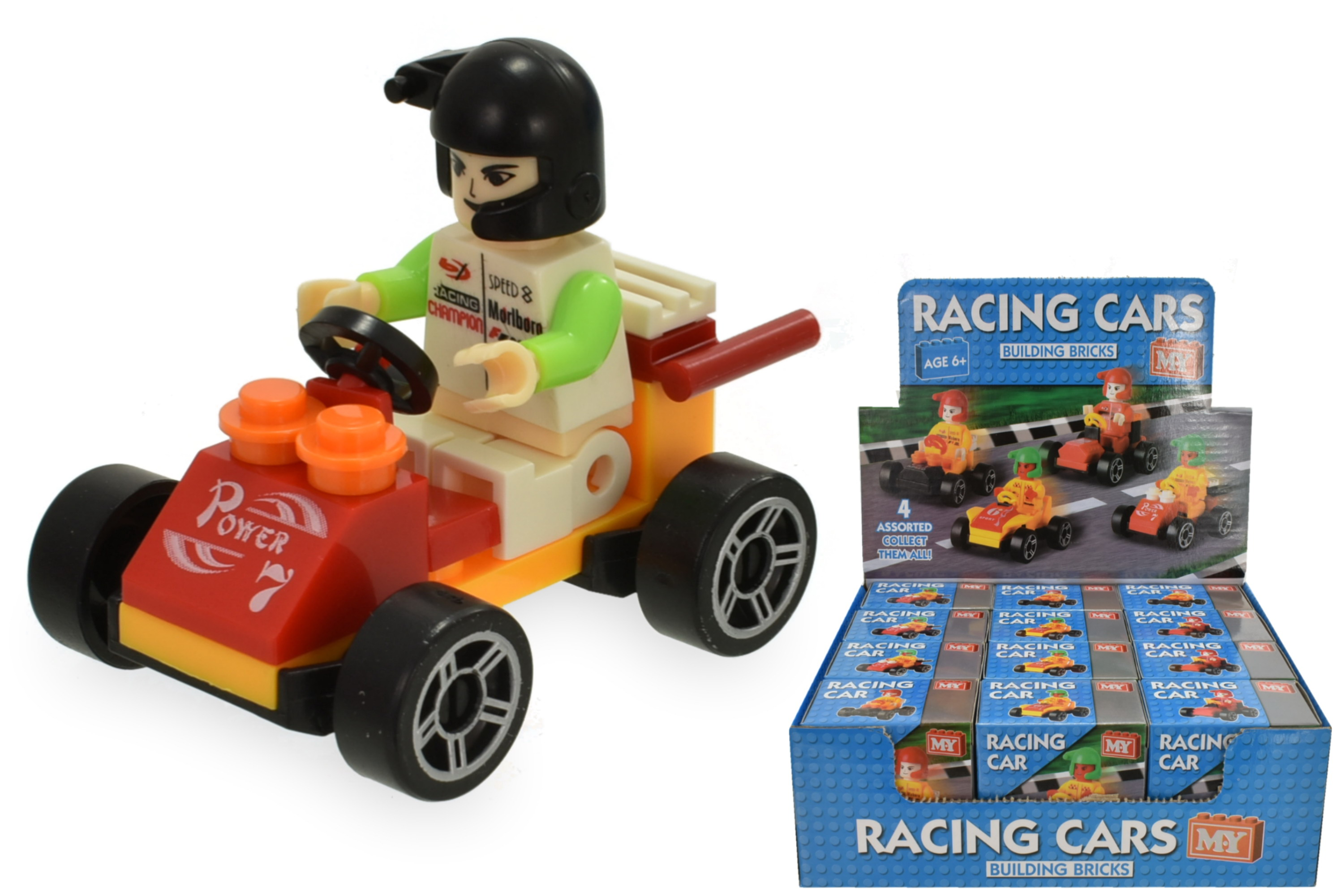 Racing Car Building Brick Set 4 Assorted In Display Box