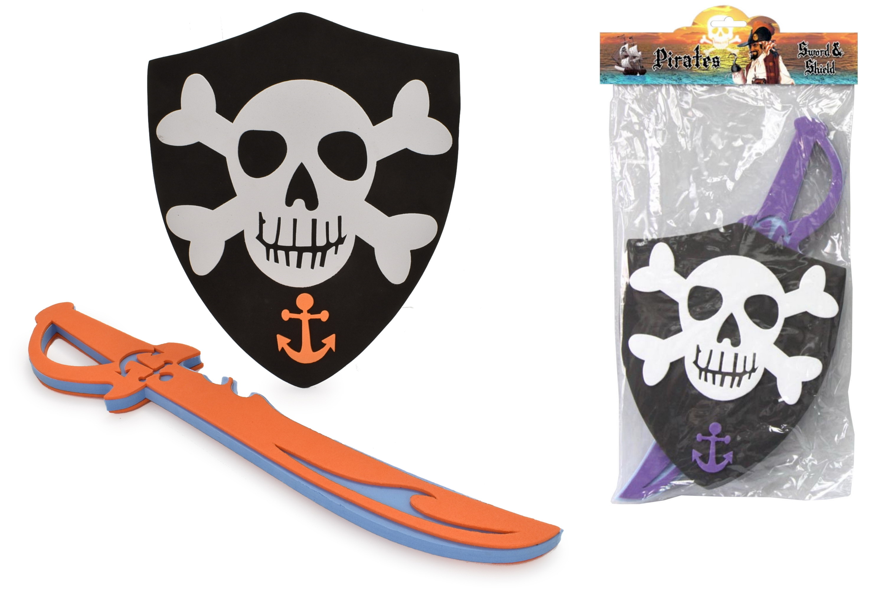 Eva Pirate Sword & Shield Playset In Pvc Bag/Header