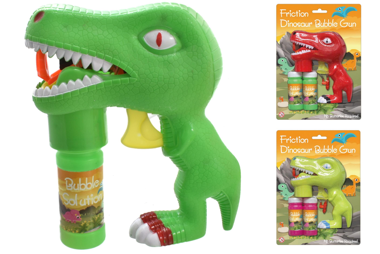 Dinosaur Bubble Gun 3 Assorted Colours On Blistercard