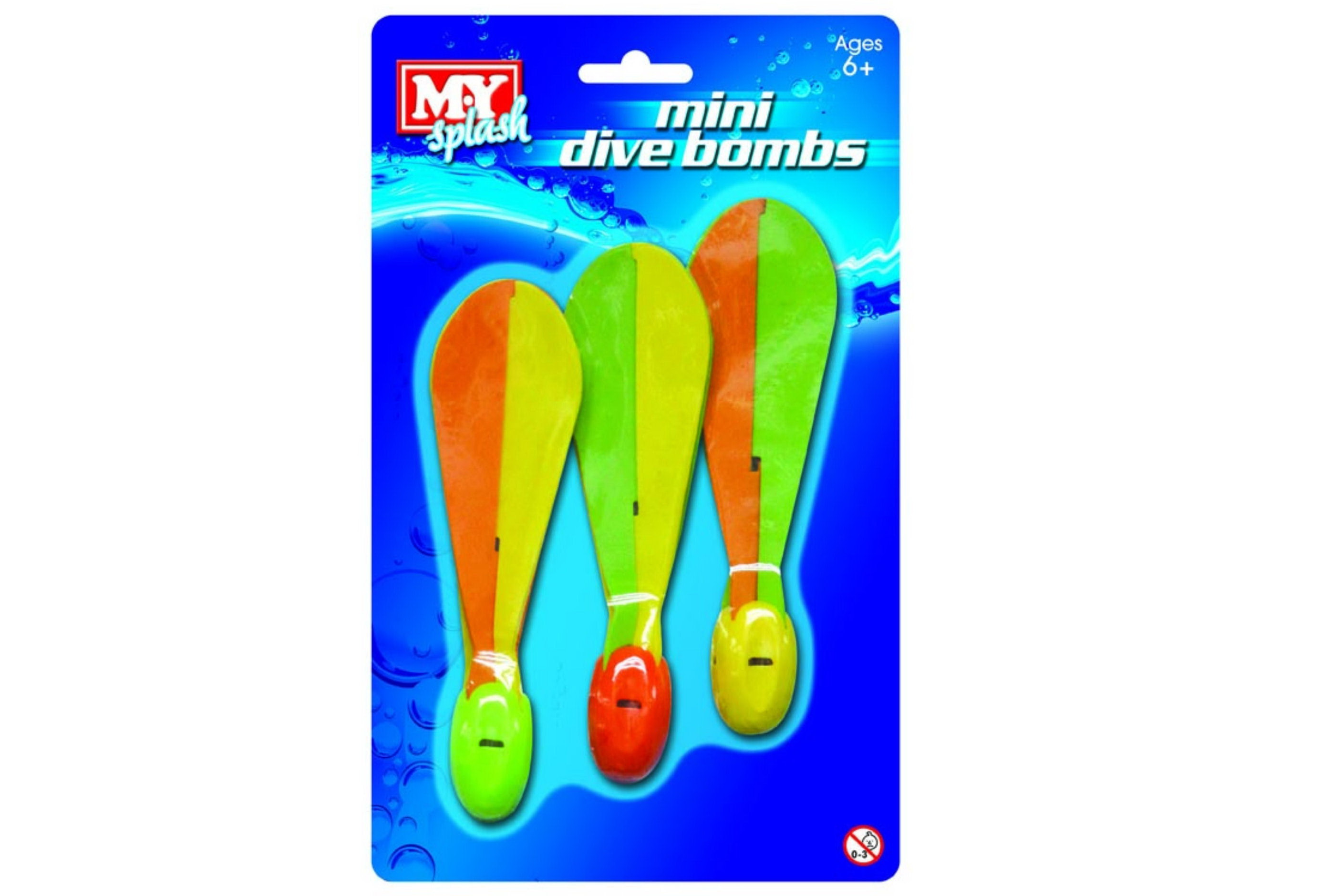 """3pc Mini Dive Bombs """"M.Y"""" On Blistercard"""
