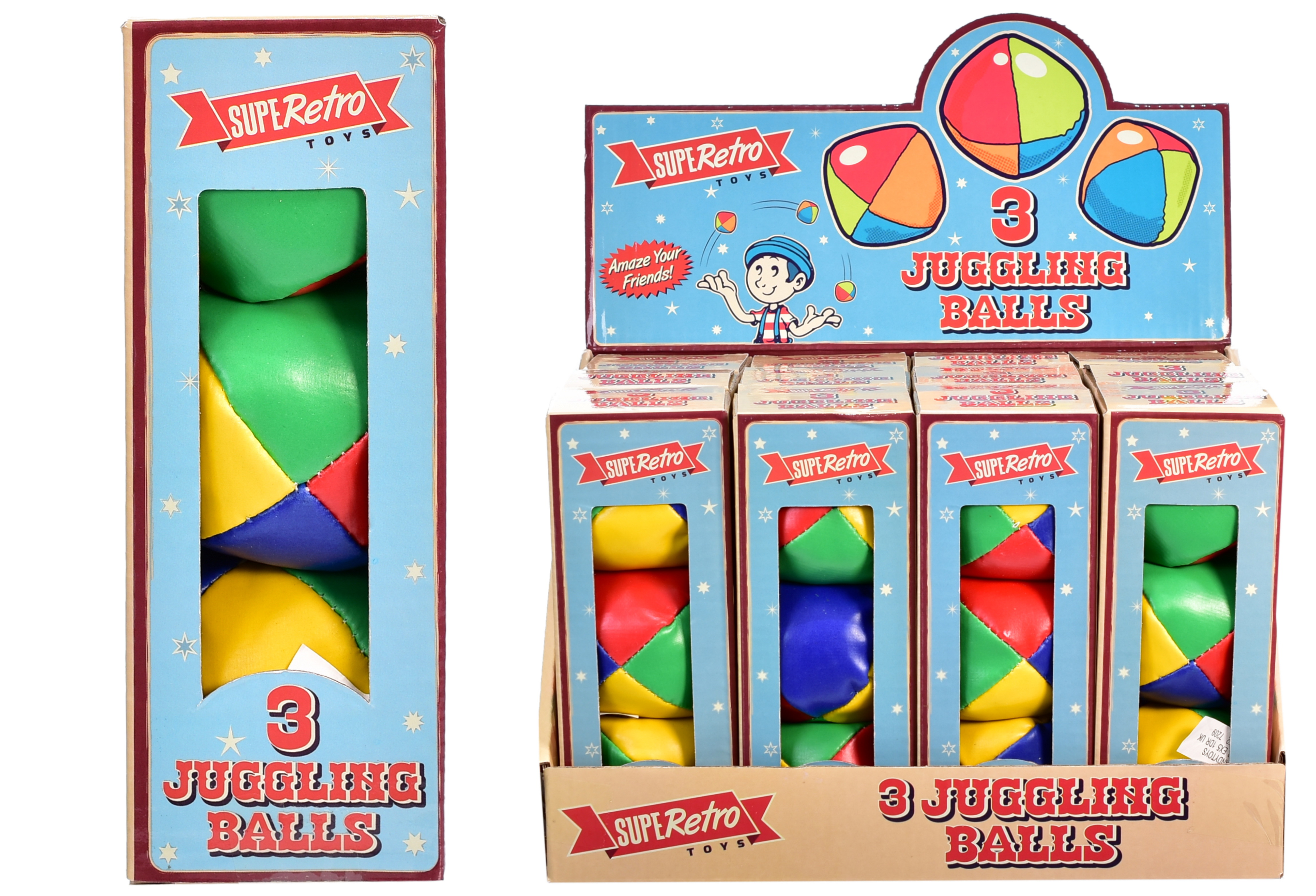 "3 Pack Juggling Balls ""Retro"" In Display Box"