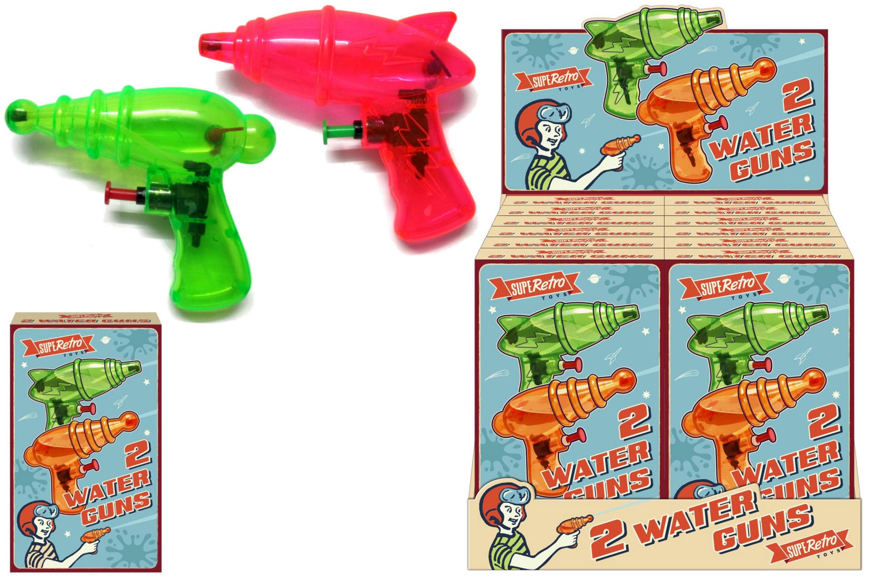 "2pc Watergun In Colour Box ""Retro"" In Display Box"