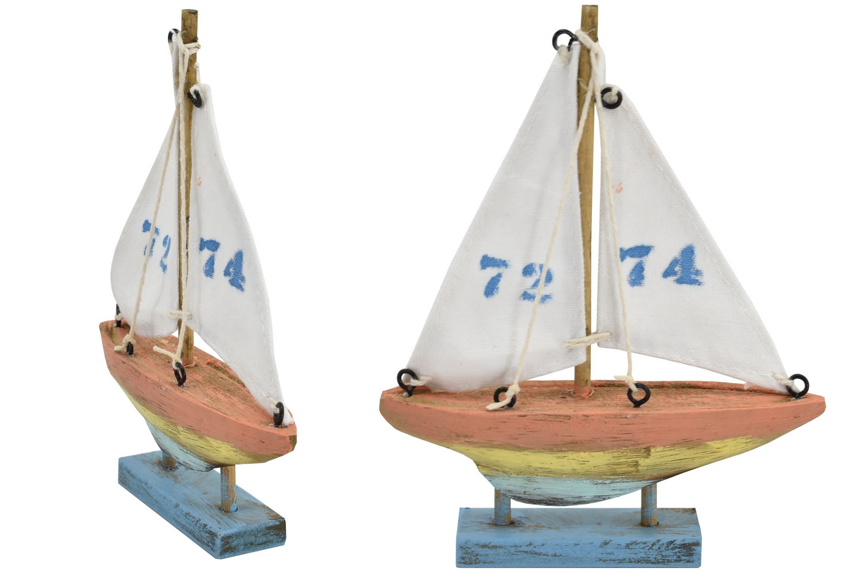 16cm Wooden Boat 4 Colour