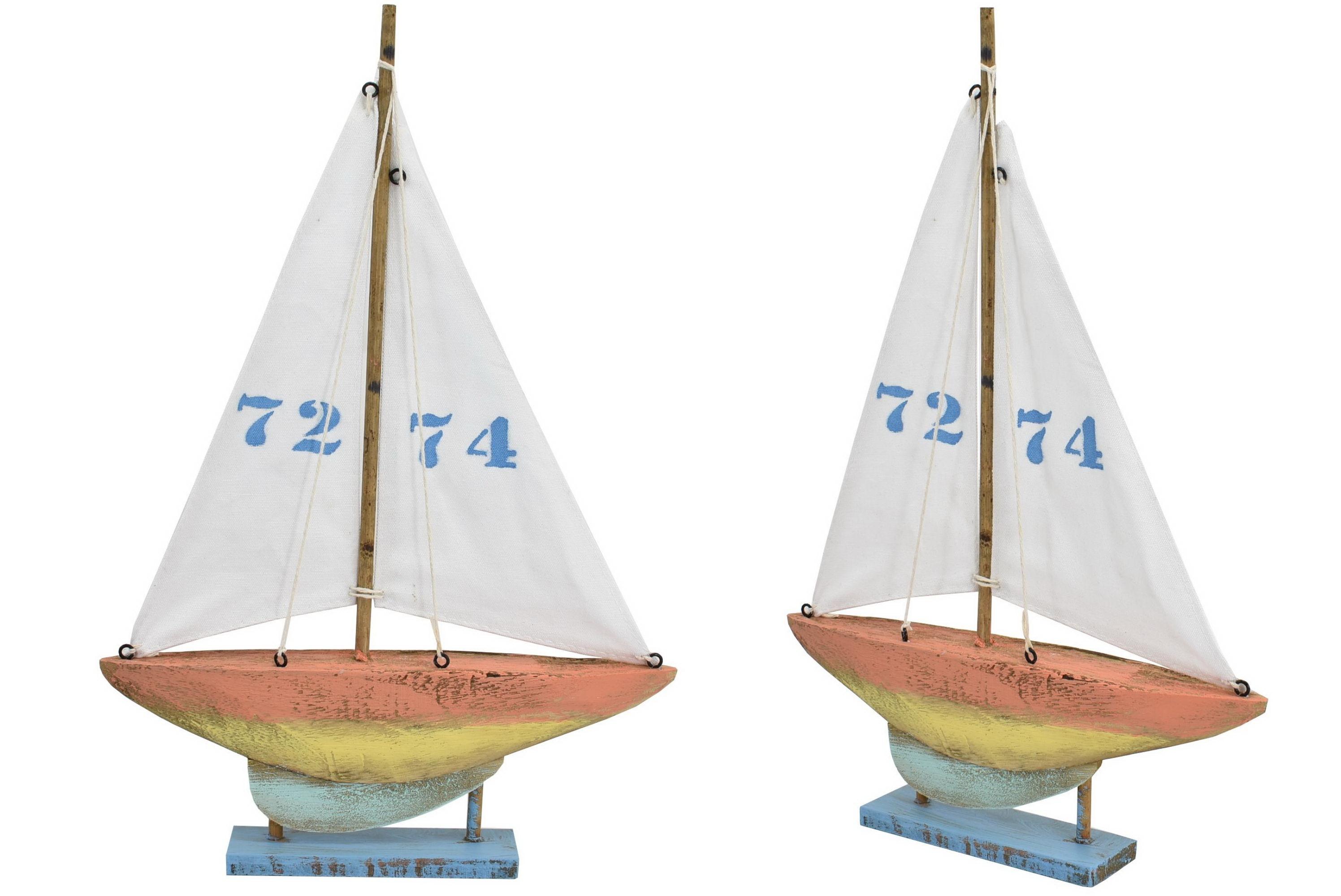 35cm Wooden Boat 4 Colour