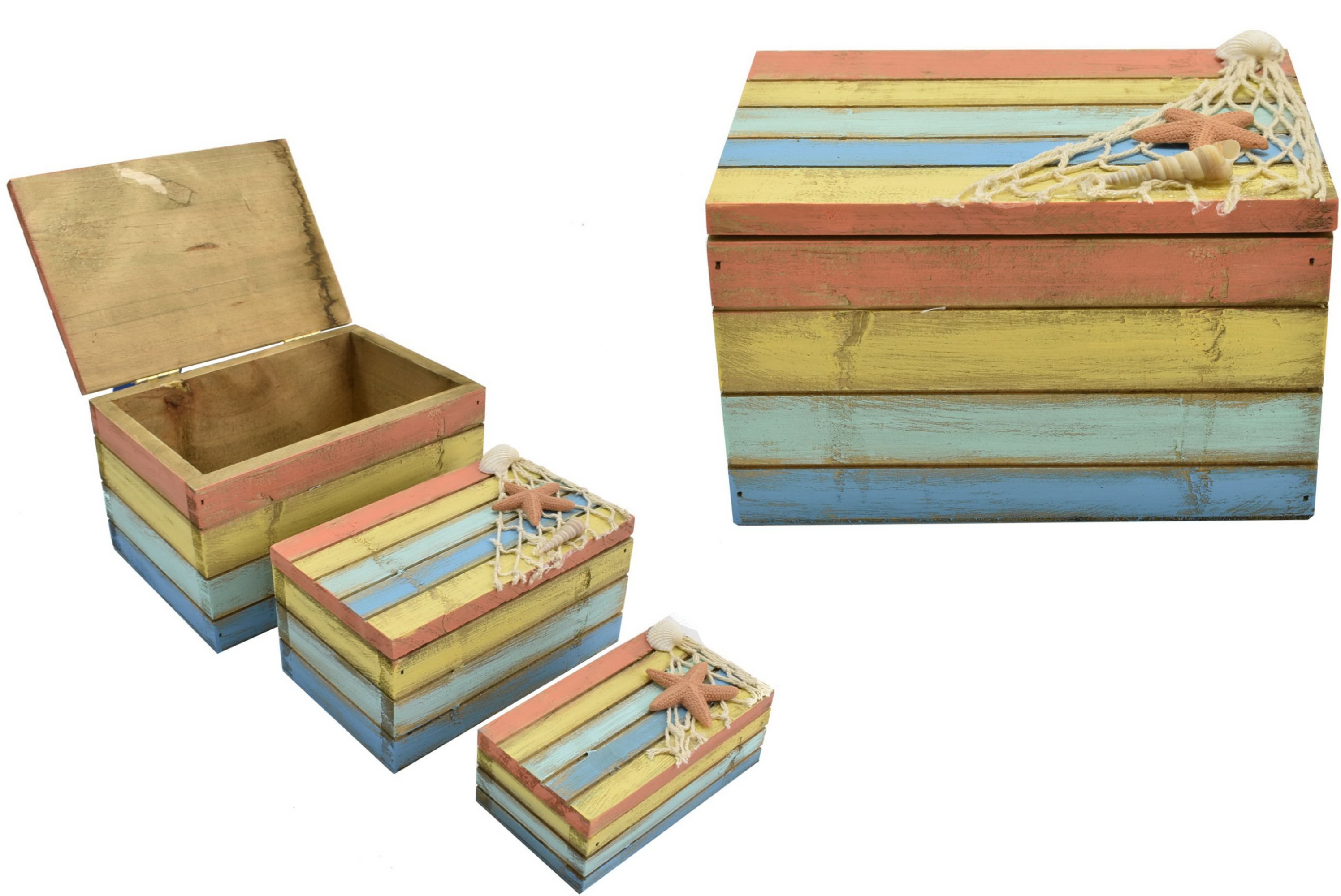 Set Of 3 Wooden Beach Boxes 4 Colour