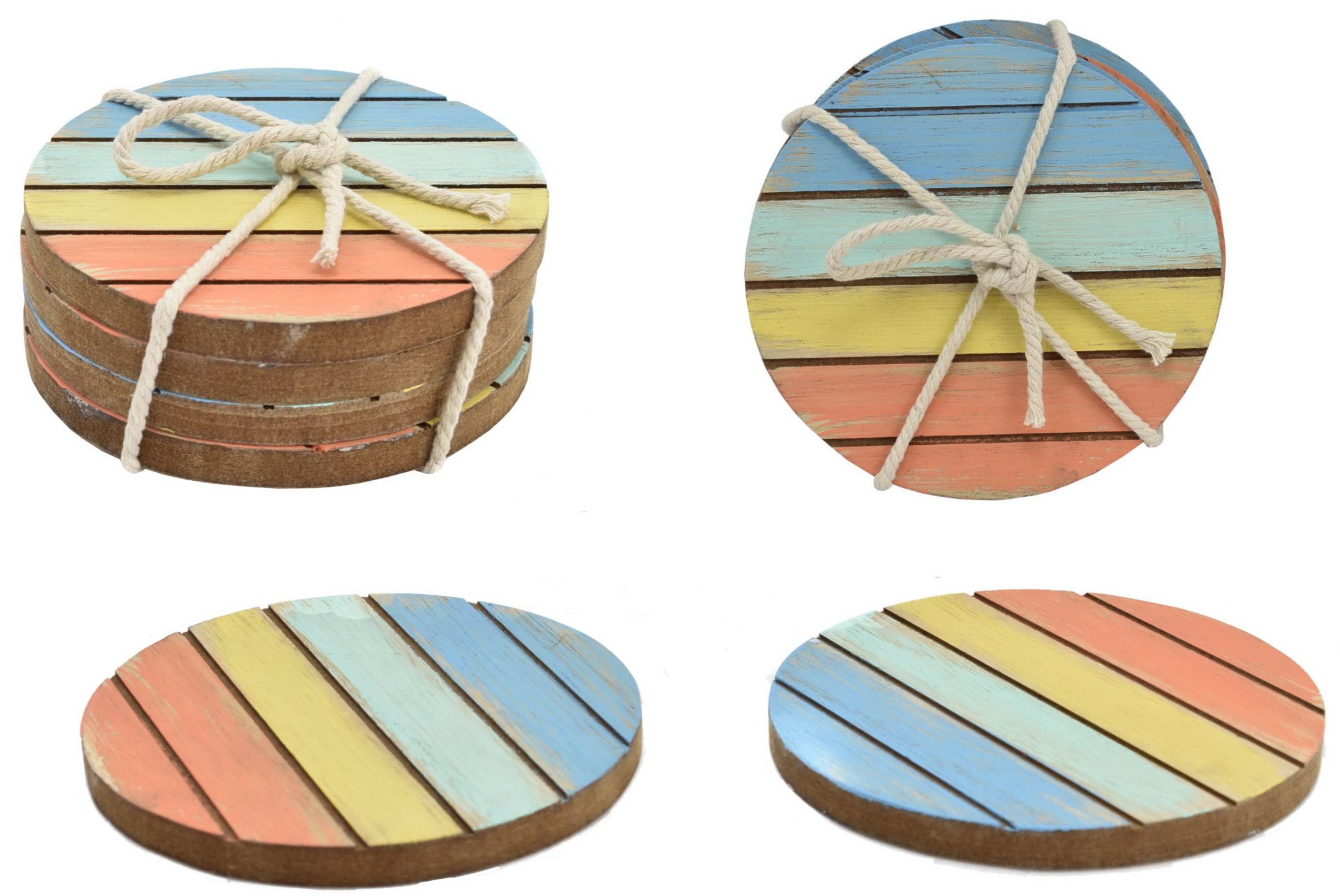 Set Of 4 Wooden 10cm Coasters 4 Colour