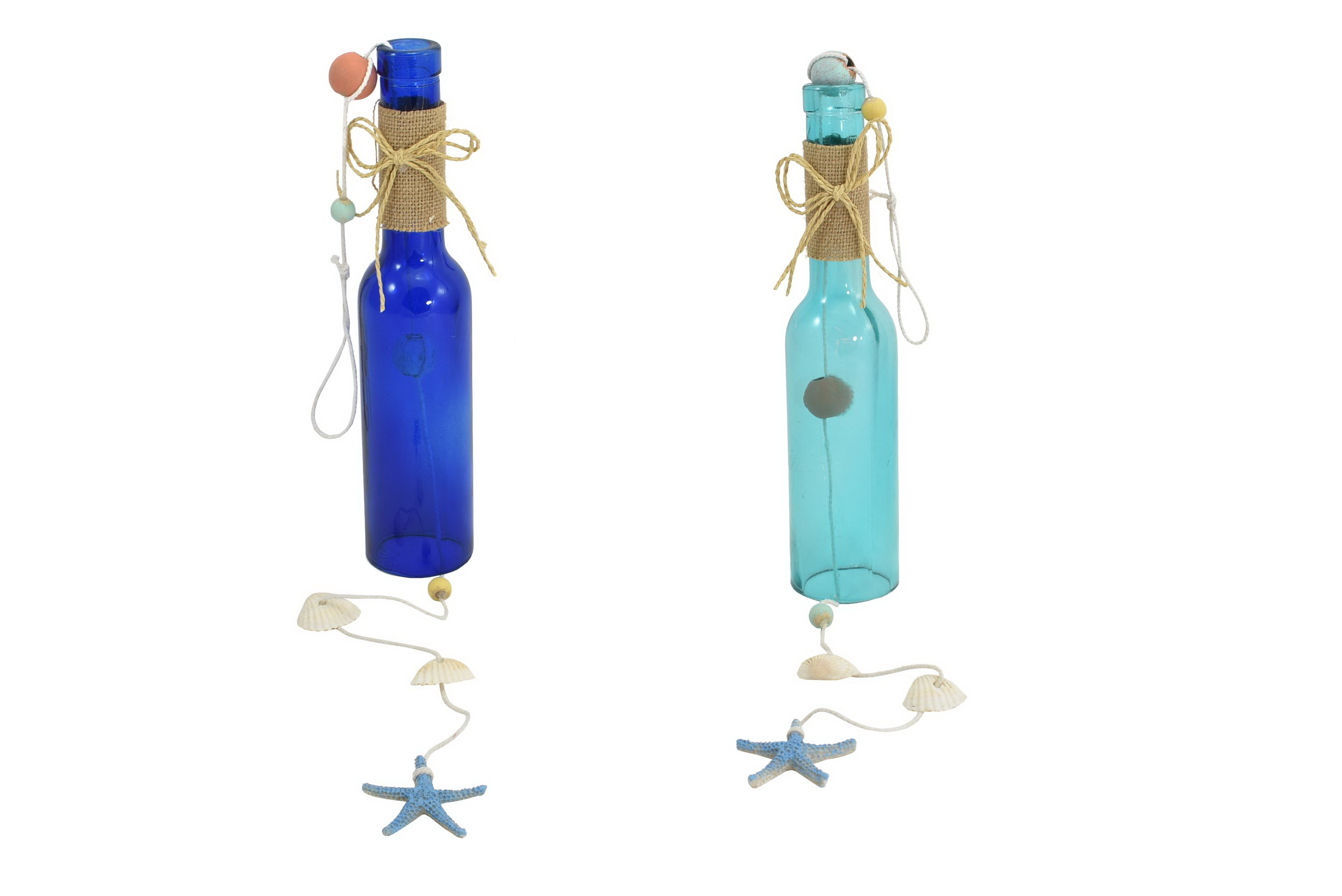 Glass Bottle Wind Chime 2 Assorted Colours