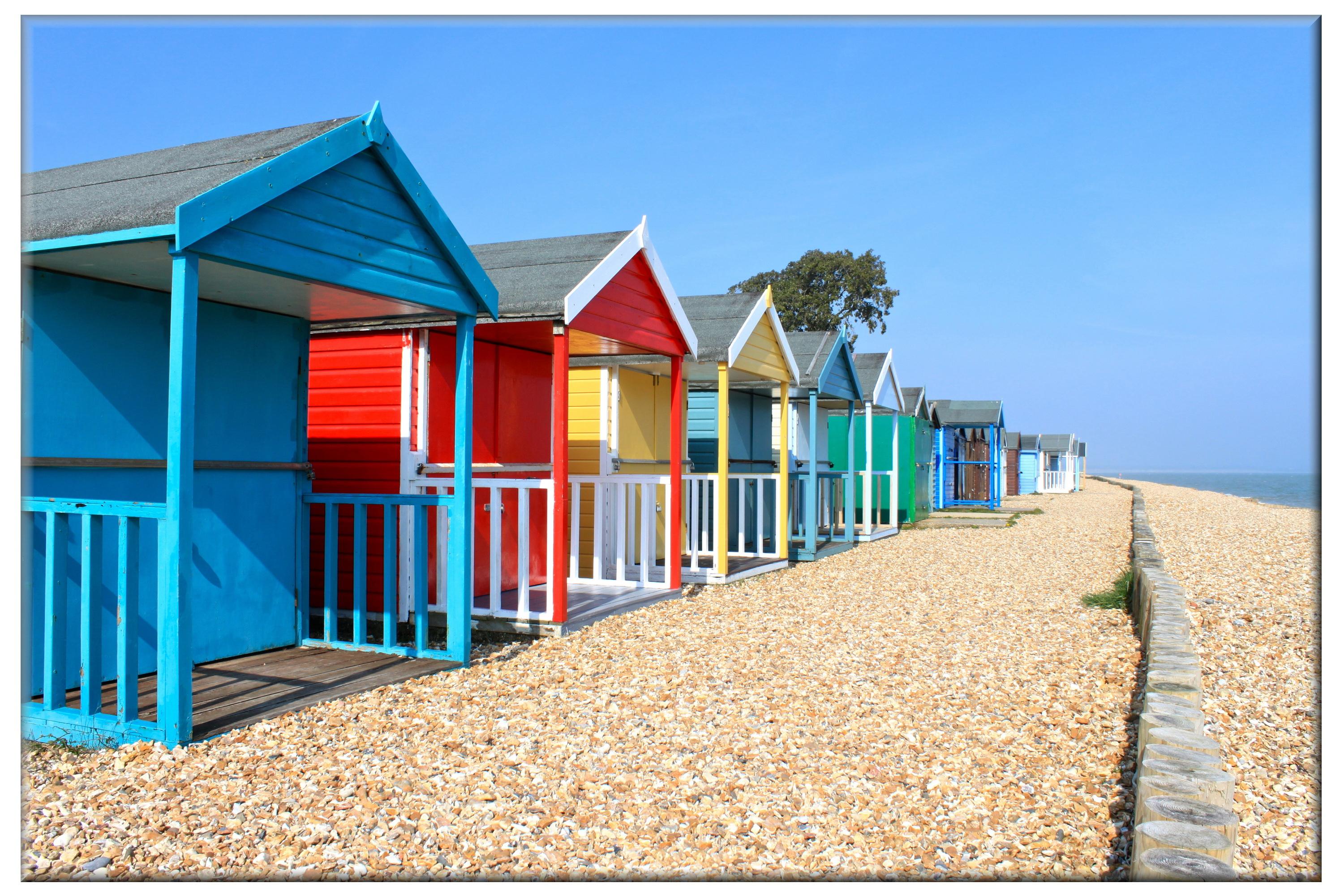 42cm x 60cm Glass Picture Beach Huts
