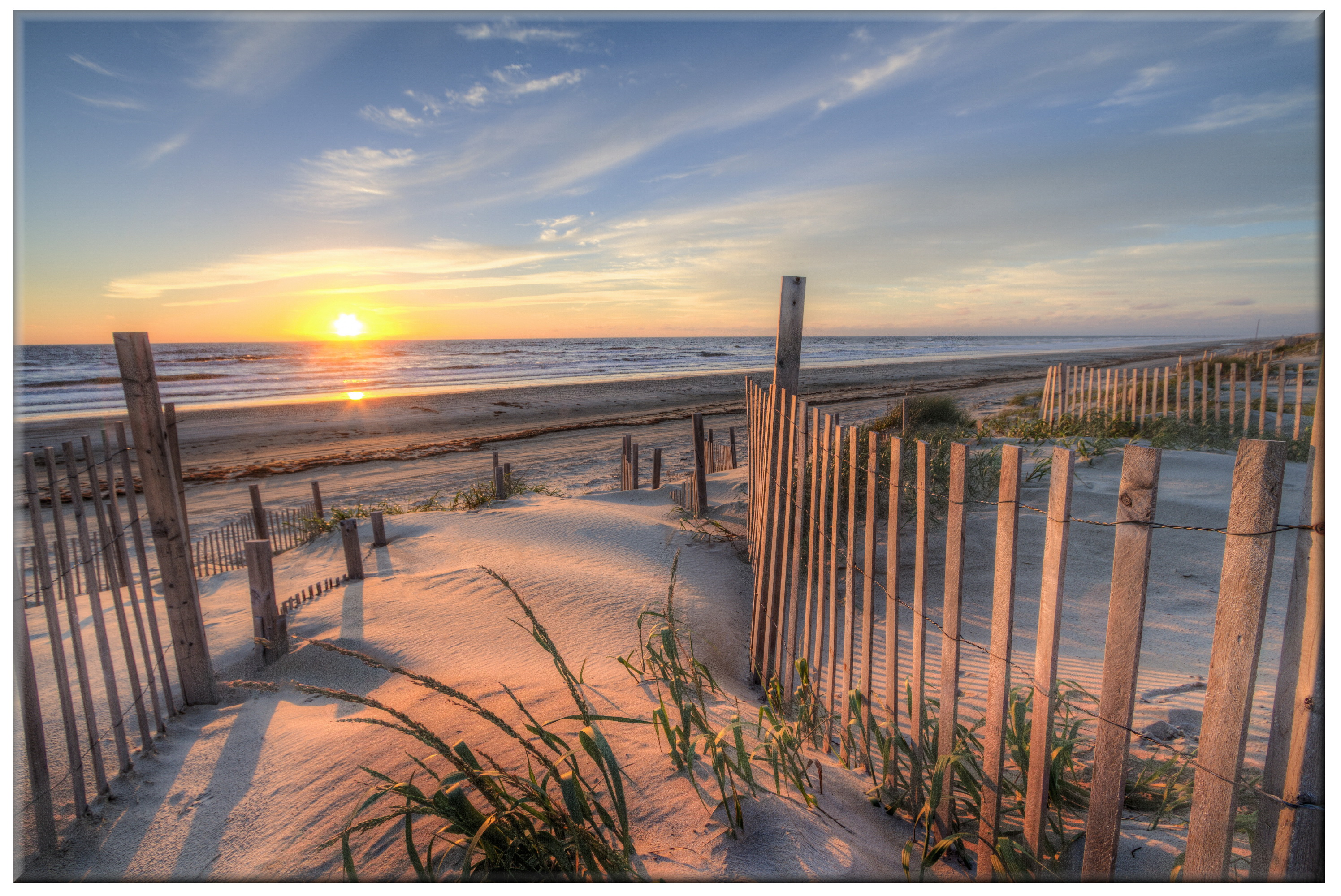 42cm x 60cm Glass Picture Beach Fence Sunrise