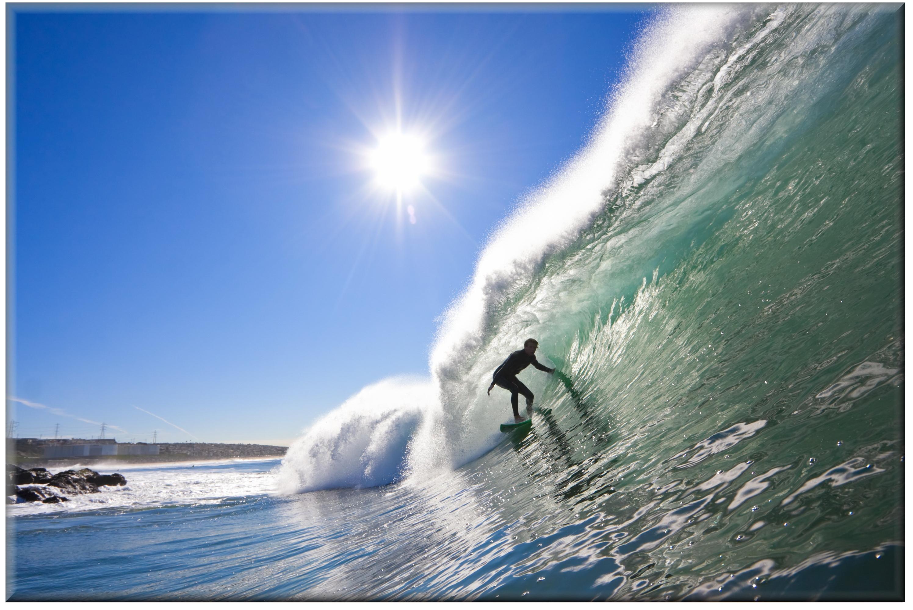 20cm x 30cm Glass Picture Surfer