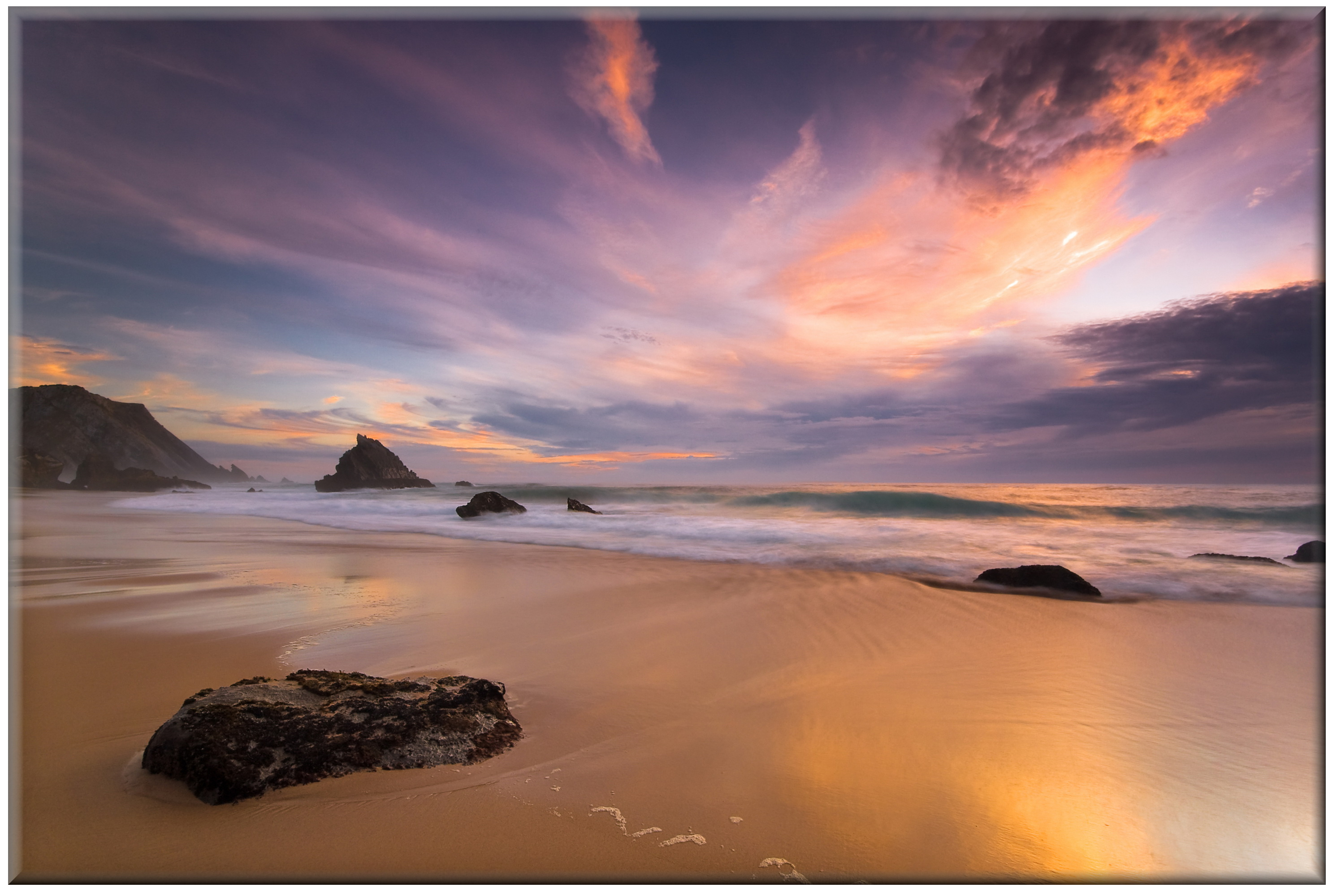 20cm x 30cm Glass Picture Beach Sunset