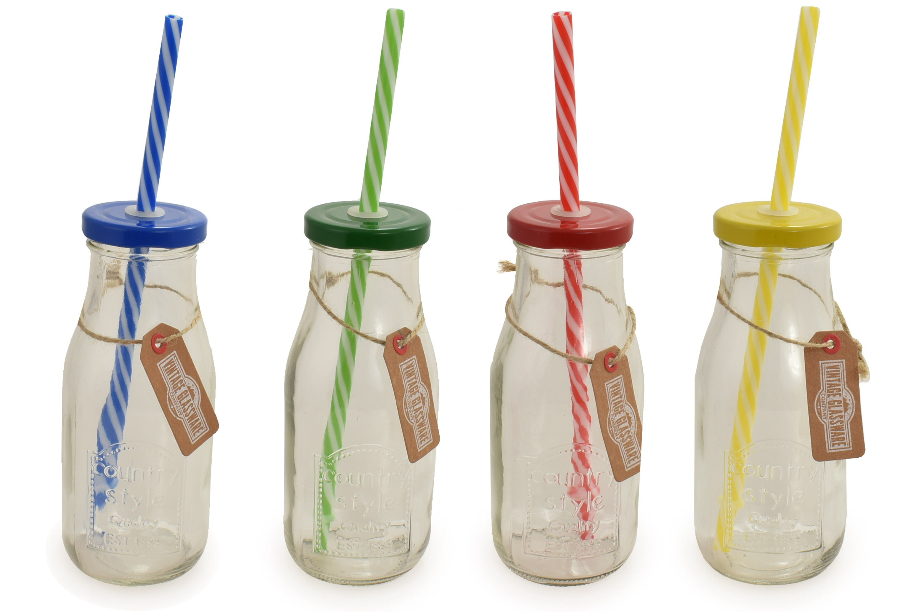 15cm Clear Glass Milk Bottle Colour Top & Straw 4 Asst