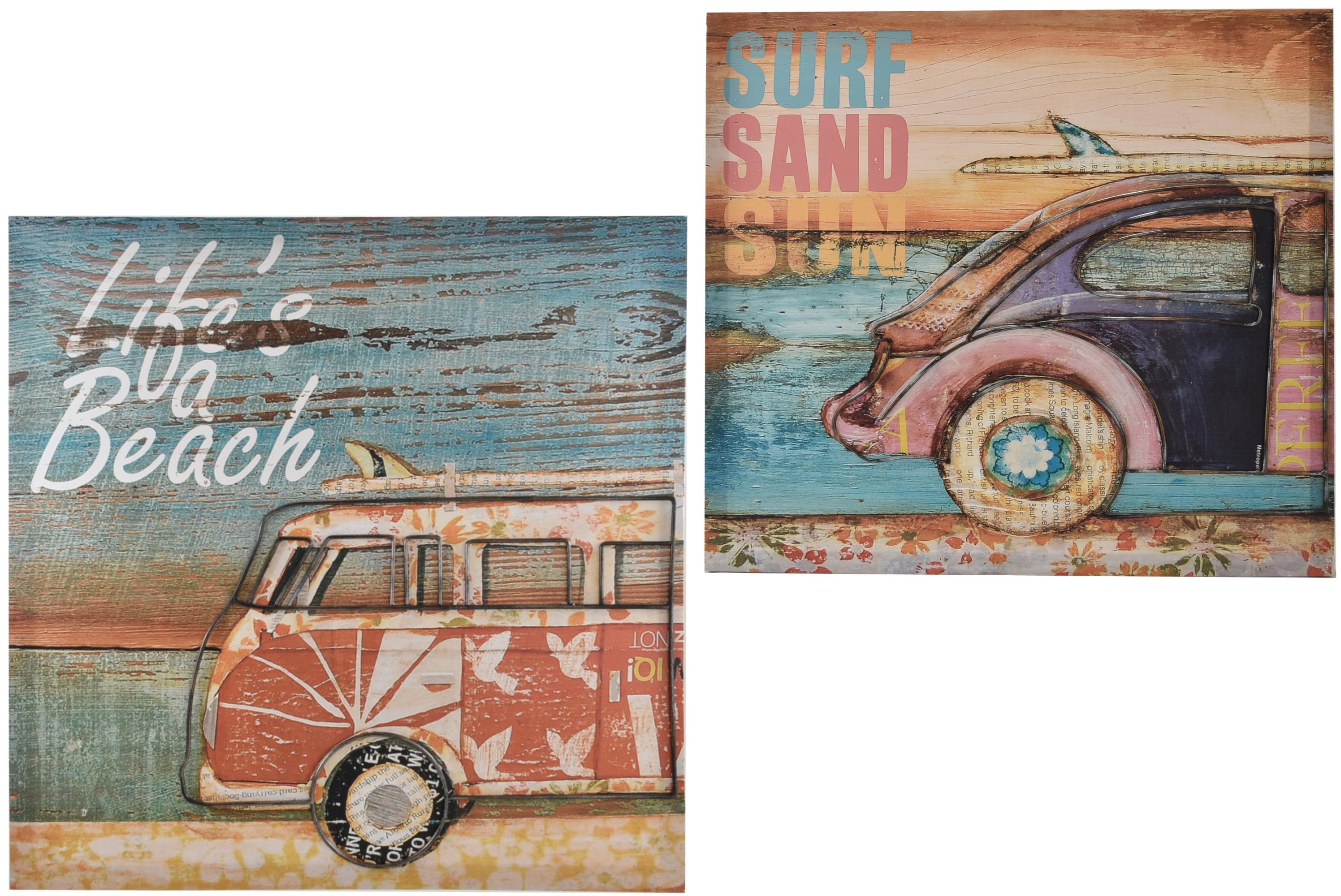 50 x 50cm Canvas Picture W/ Metal Frame Beach 2 Asst