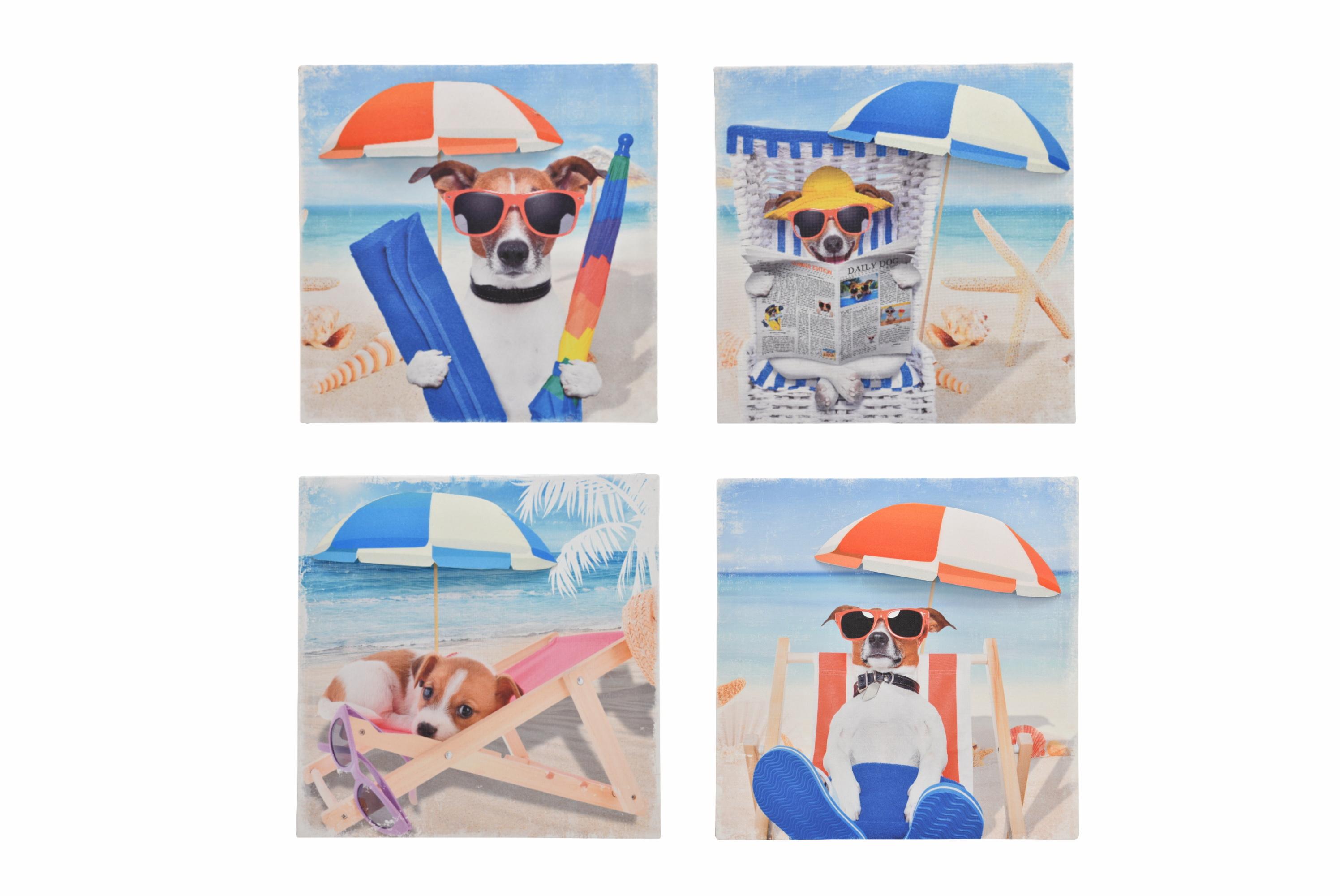28 x 28cm 3d Dog Canvas Prints With Umbrella 4 Assorted