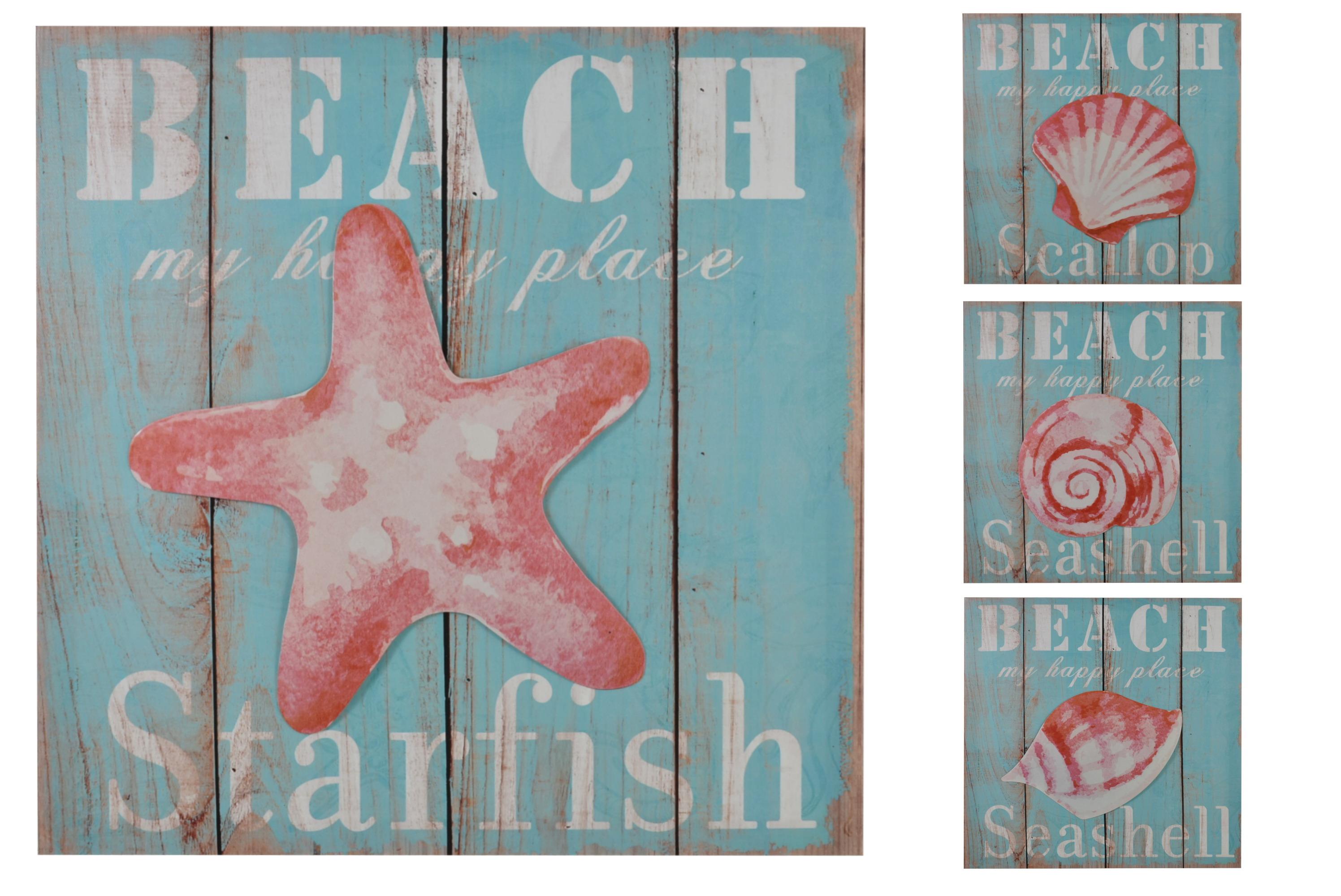 40 x 40cm 3d Beach Canvas Prints 4 Assorted