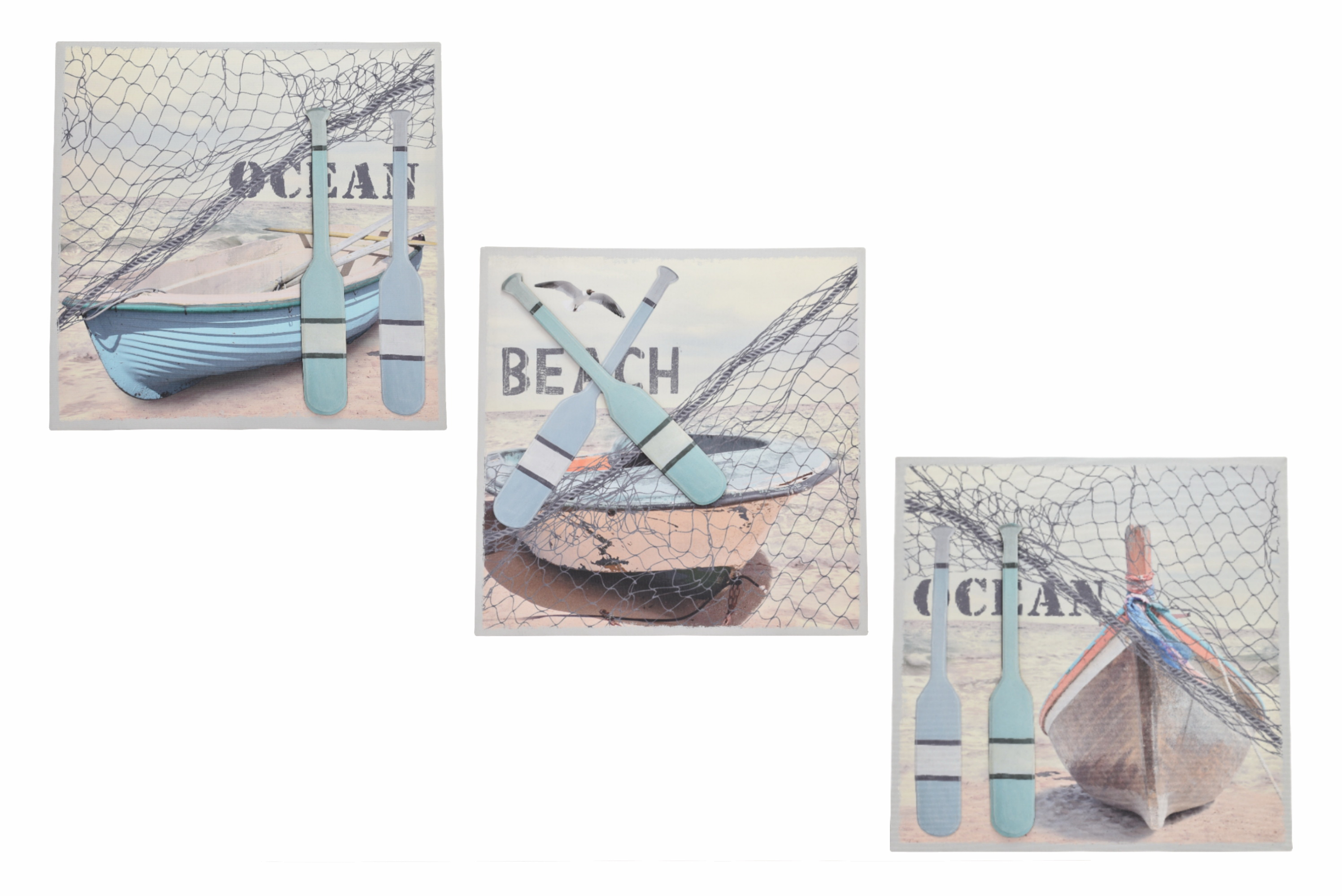 40 x 40cm 3d Boat Canvas Prints 3 Assorted