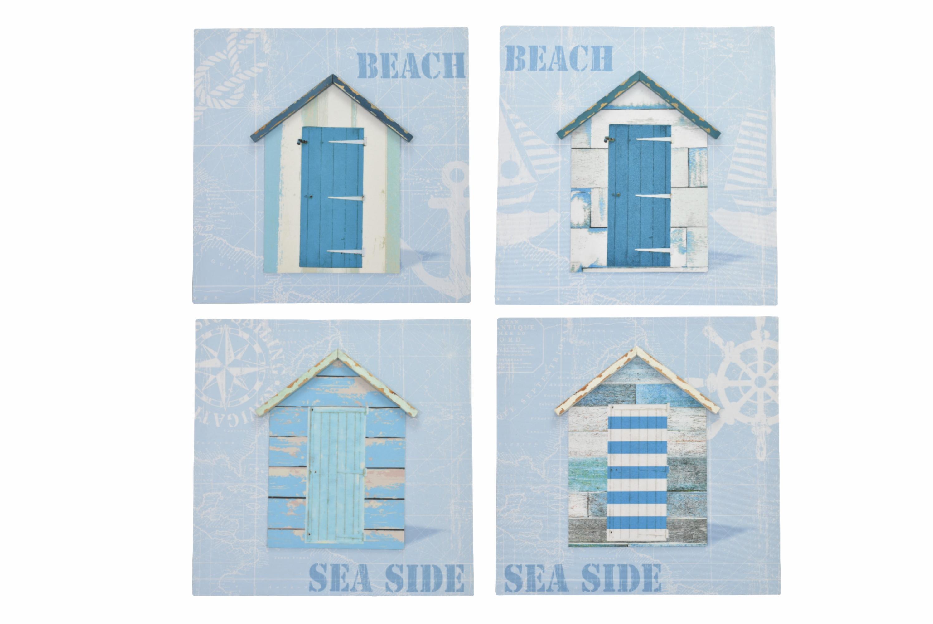 40 x 40cm 3d Beach Huts Canvas Prints 4 Assorted