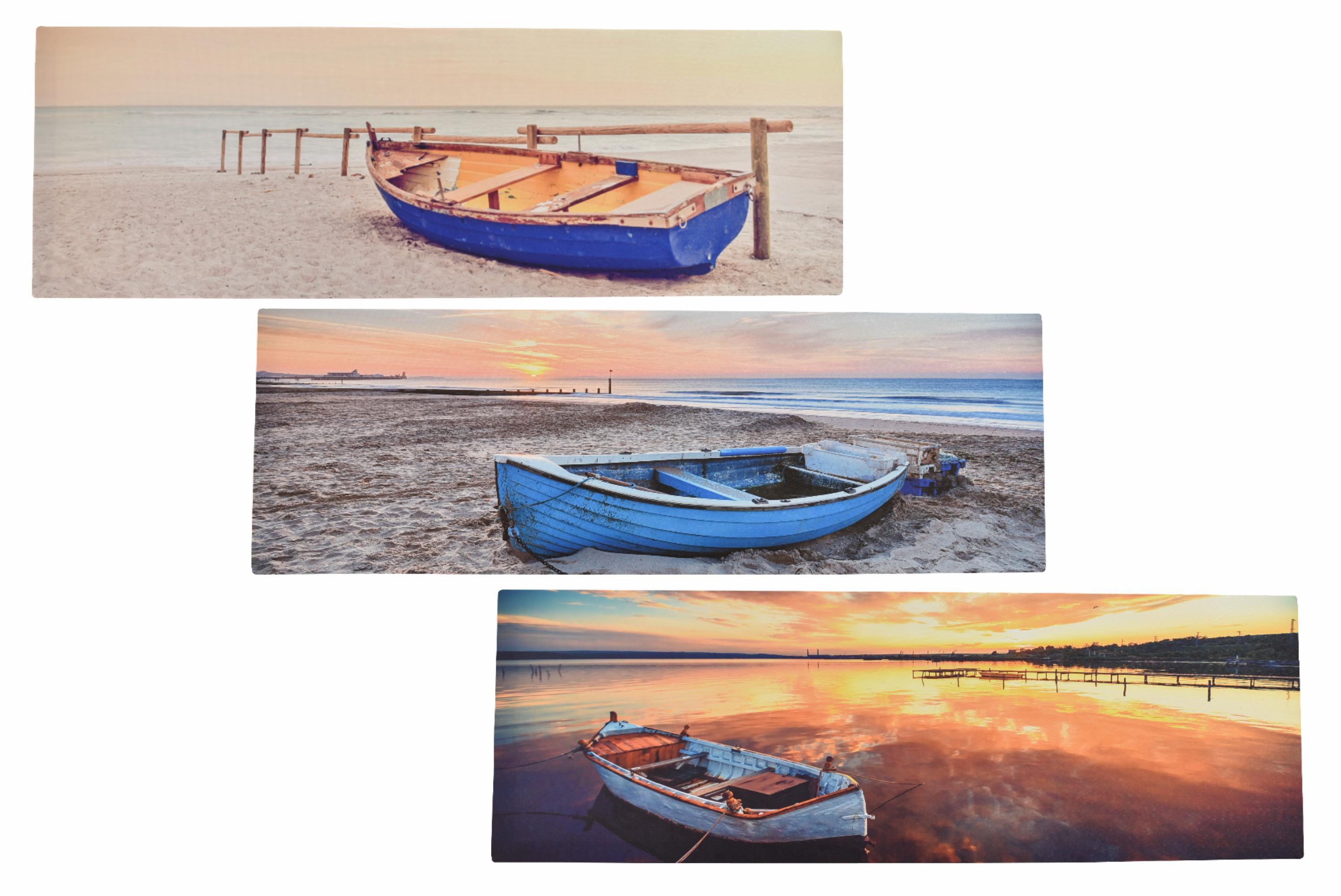 30 x 90cm Boat Scene Canvas Prints 3 Assorted