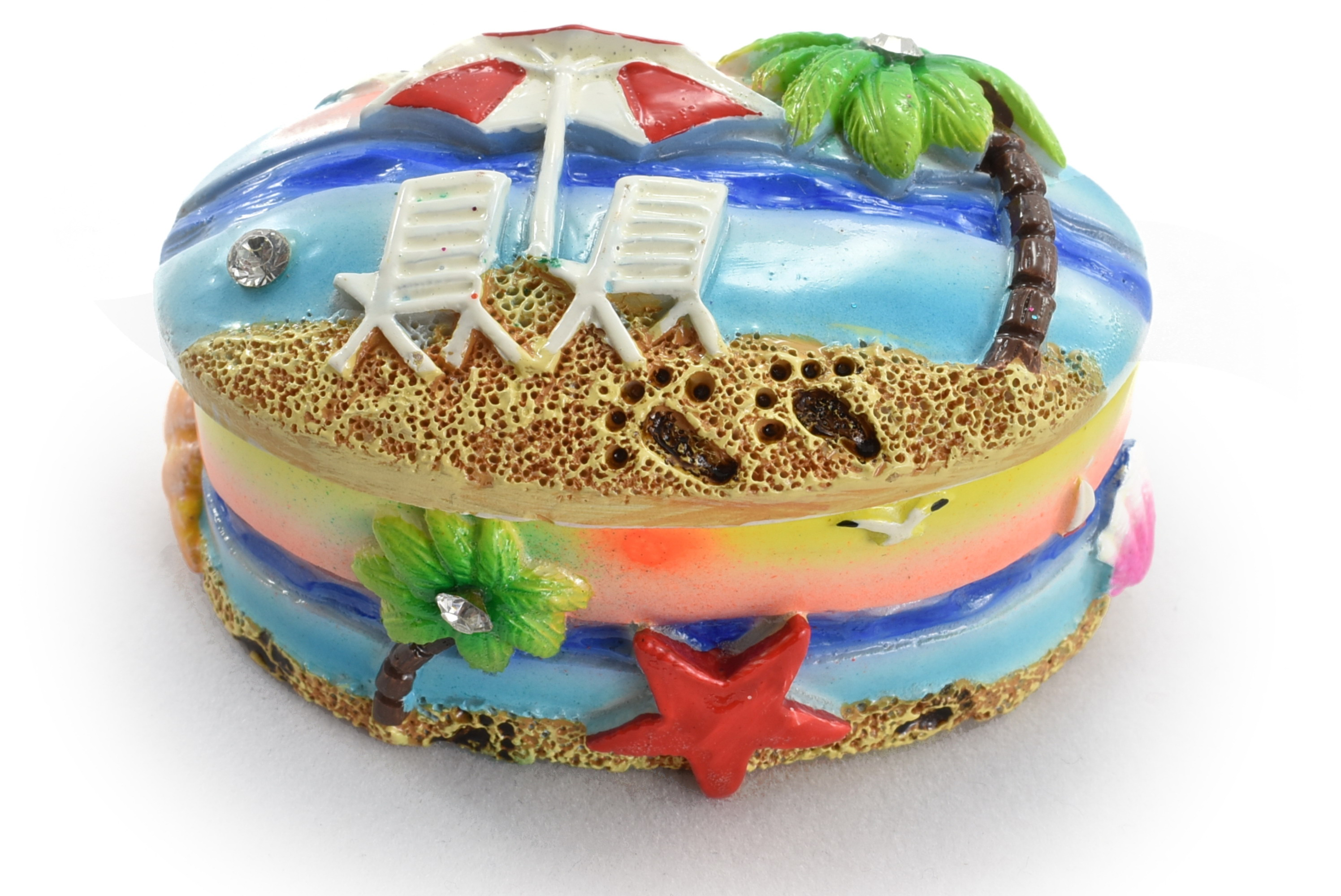 Resin Oval Trinket Box Beach Design