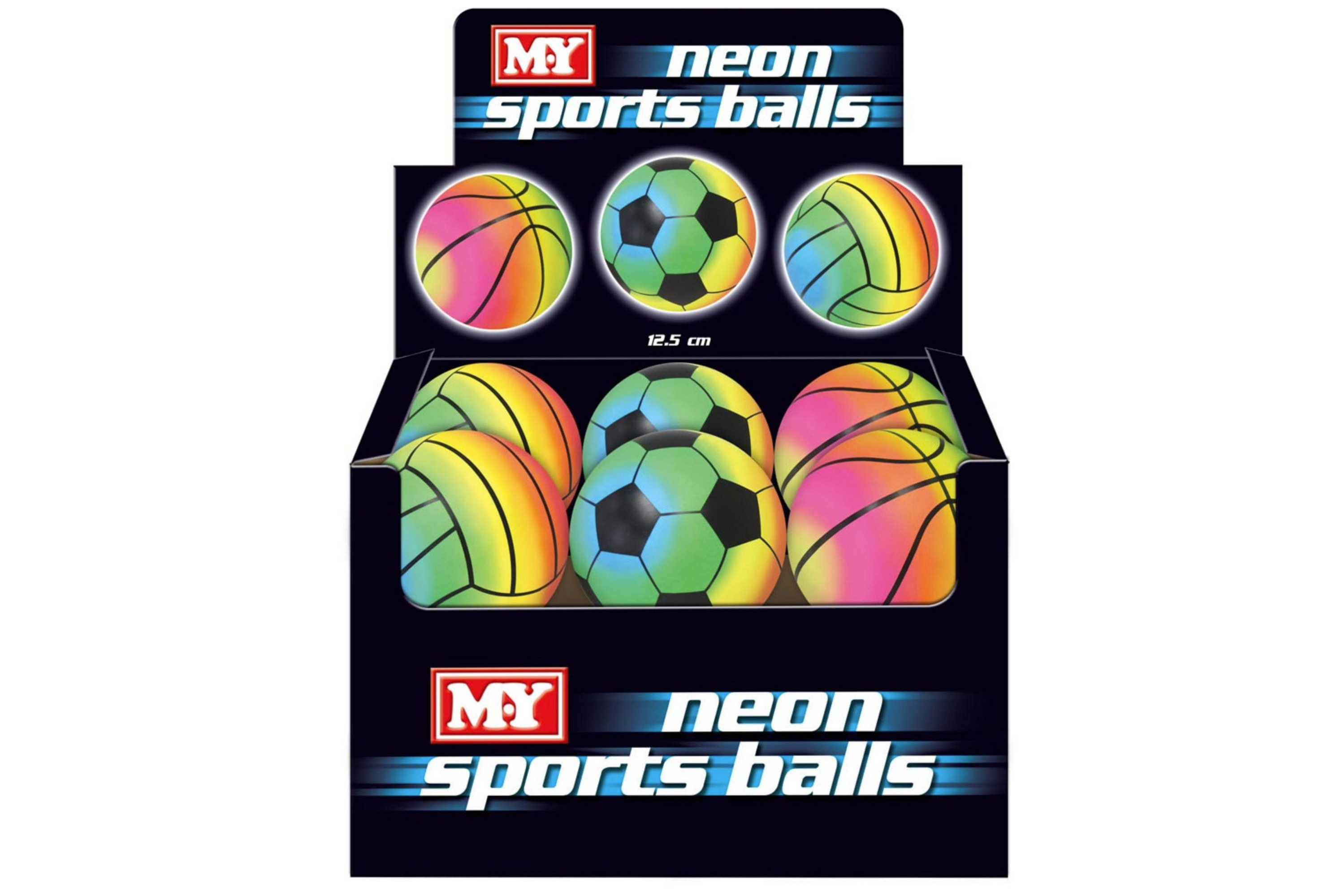 "5"" Rainbow Neon Sports Ball In Display Box (3 Asst) M.Y"