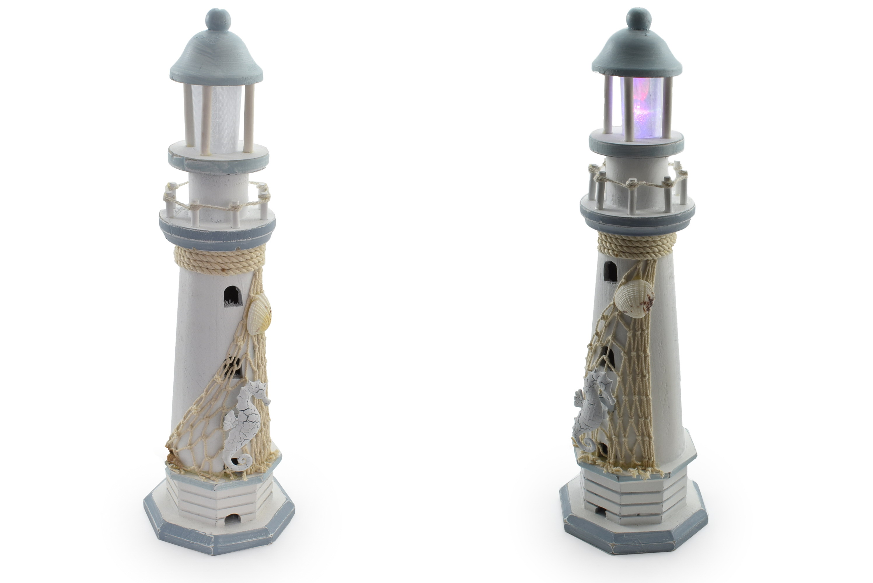 39cm Wooden Lighthouse With Led Light