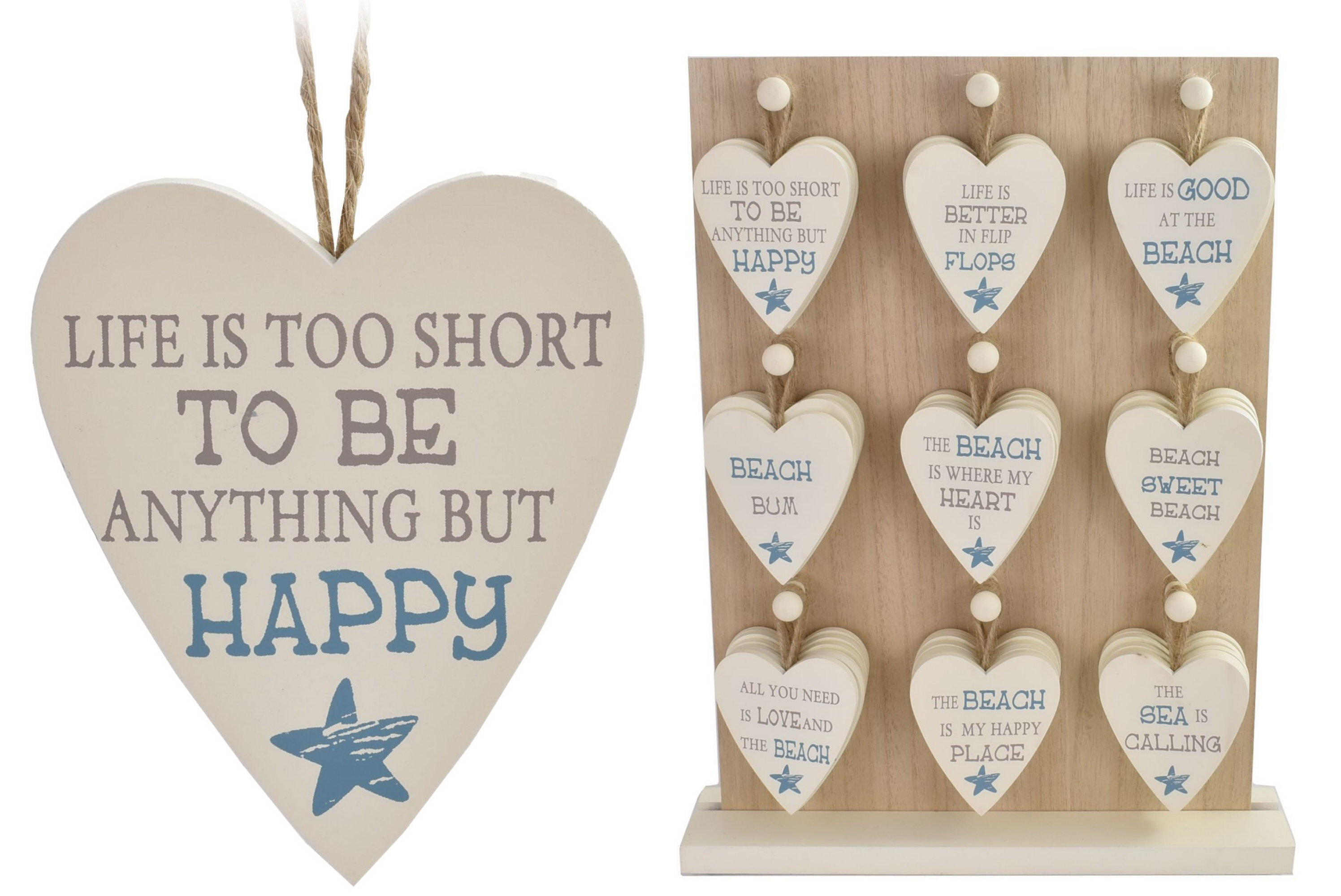 Wooden Heart Decoration On Display Stand
