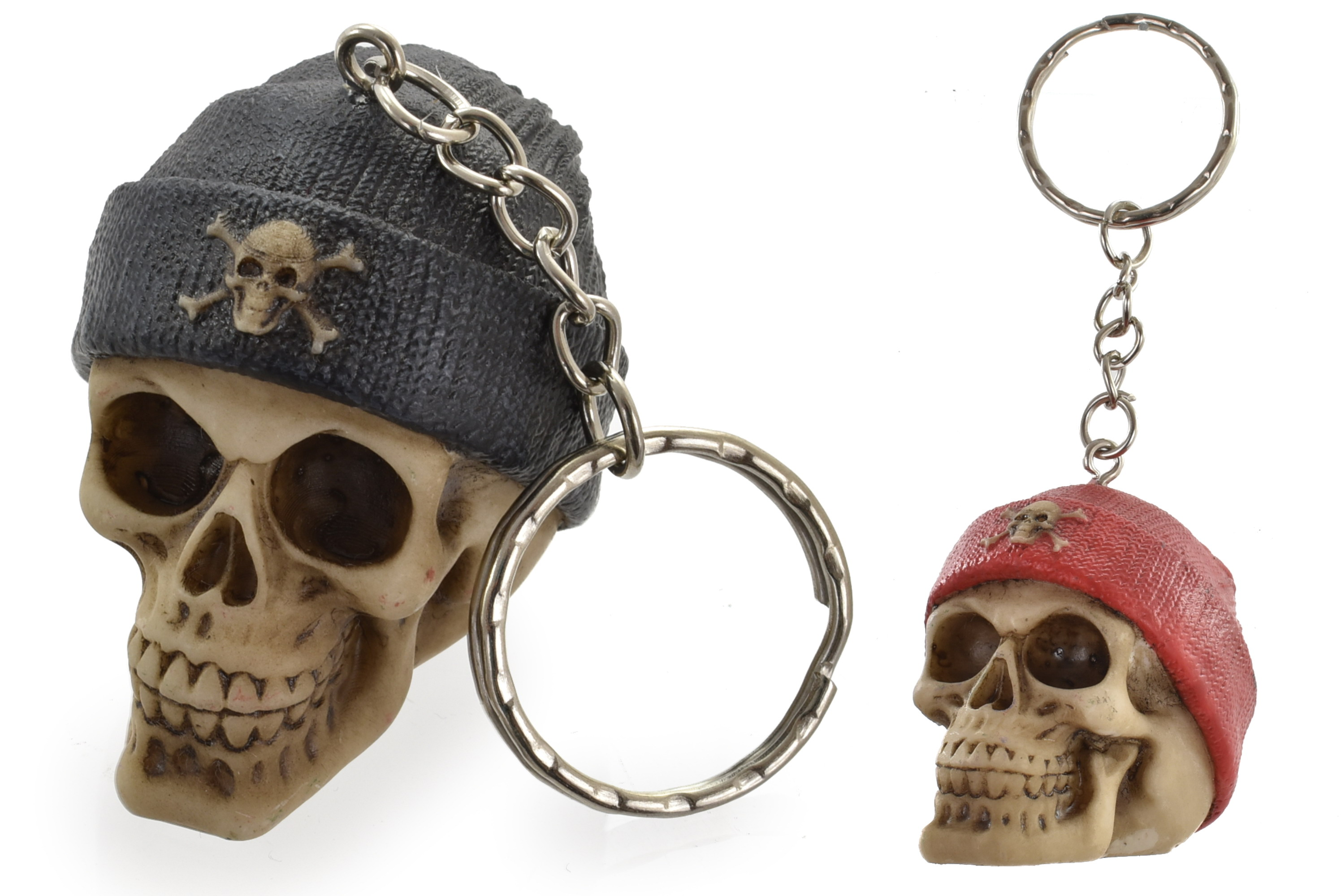 3.5cm Beanie Skull Keyring 4 Assorted Colours