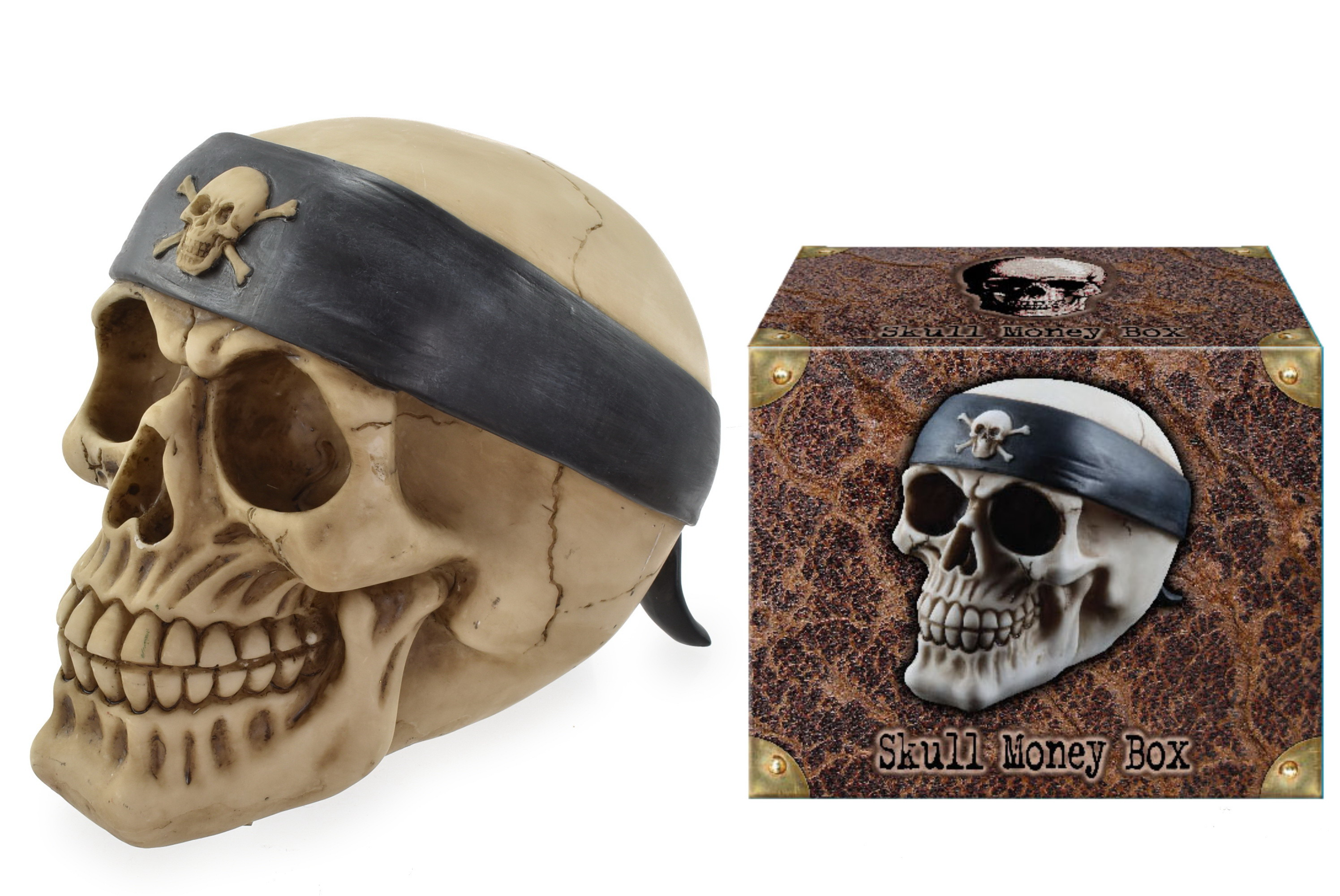 Skull With Pirate Bandana Money Box