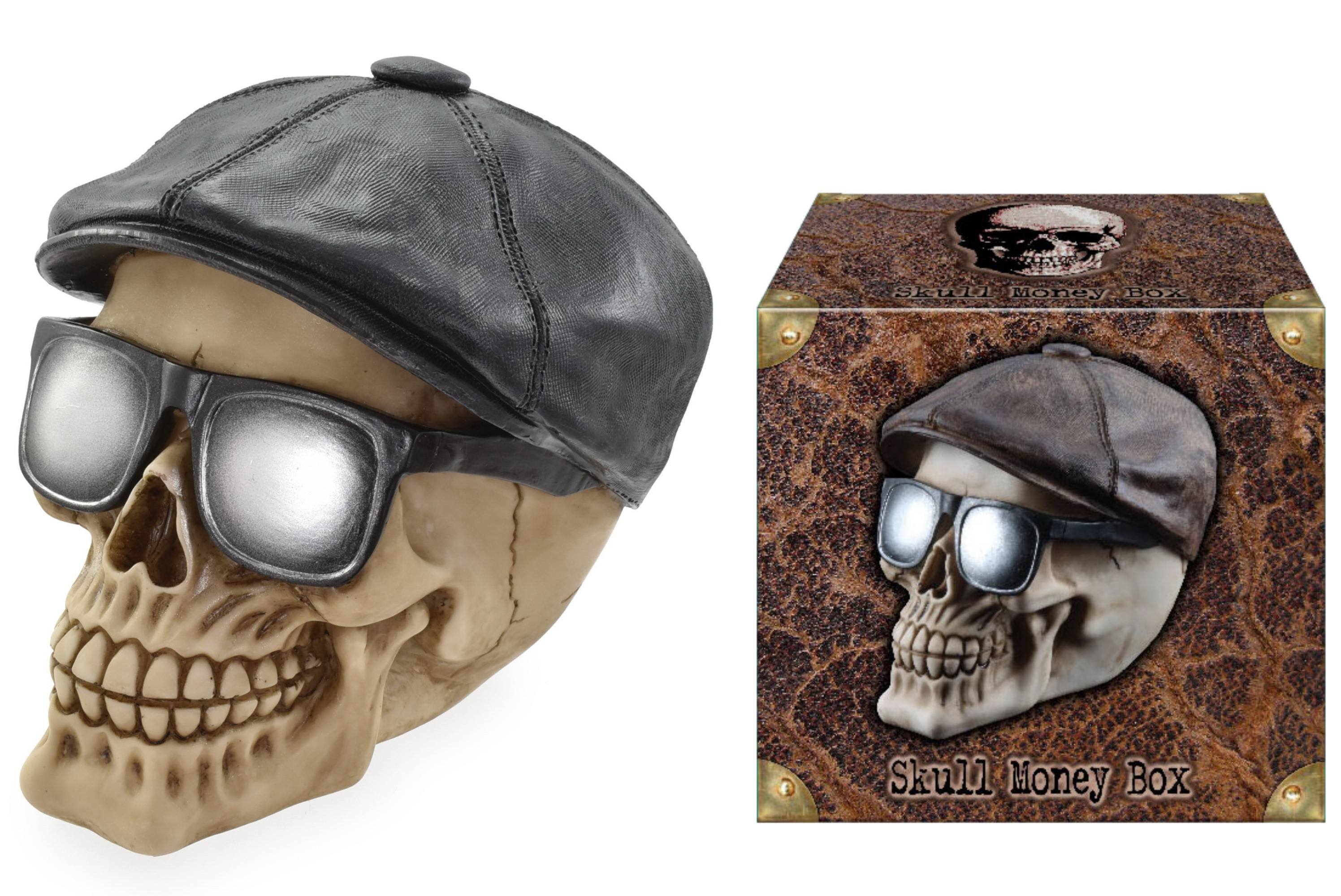 Skull With Flat Cap Money Box
