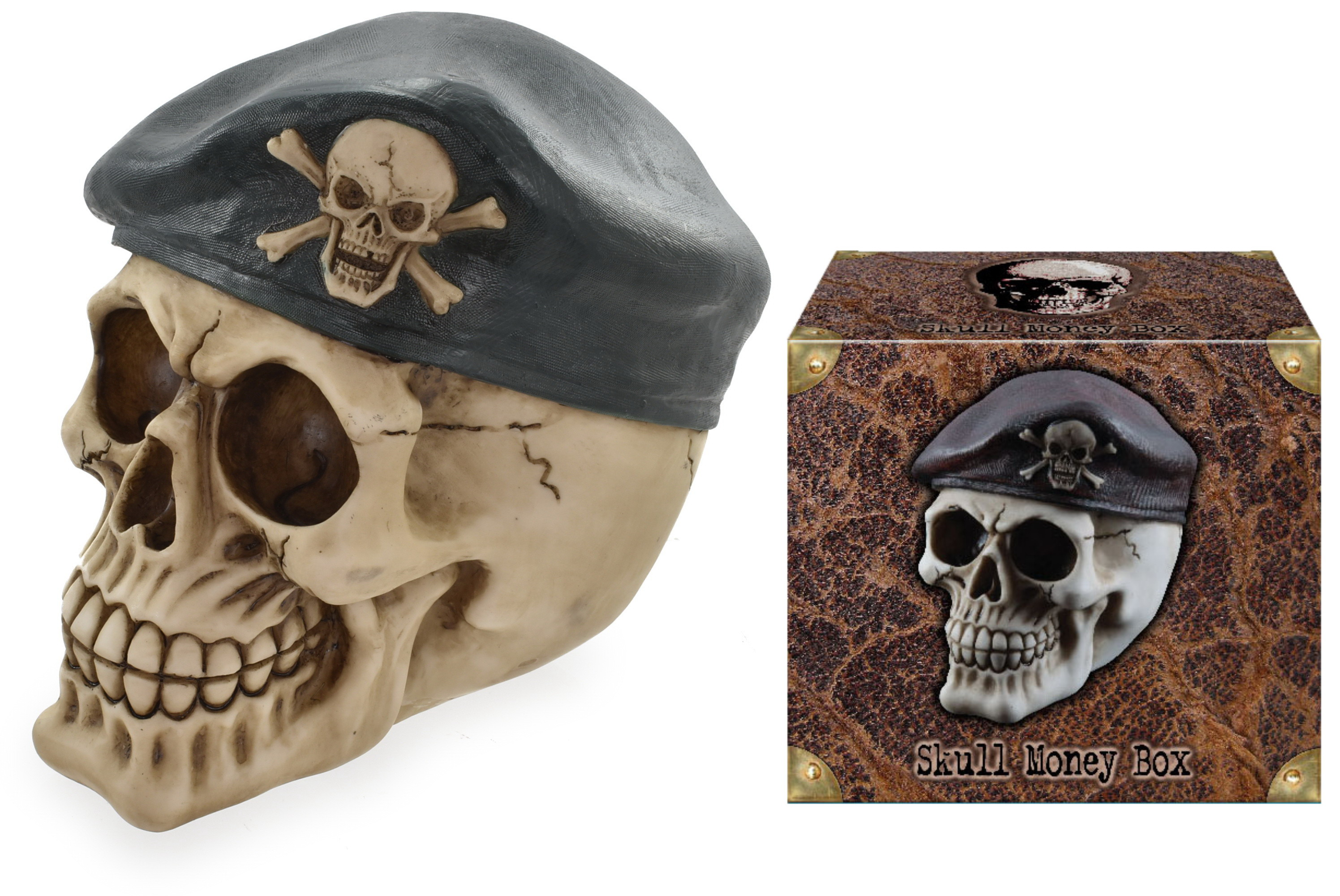 Skull With Beret Money Box