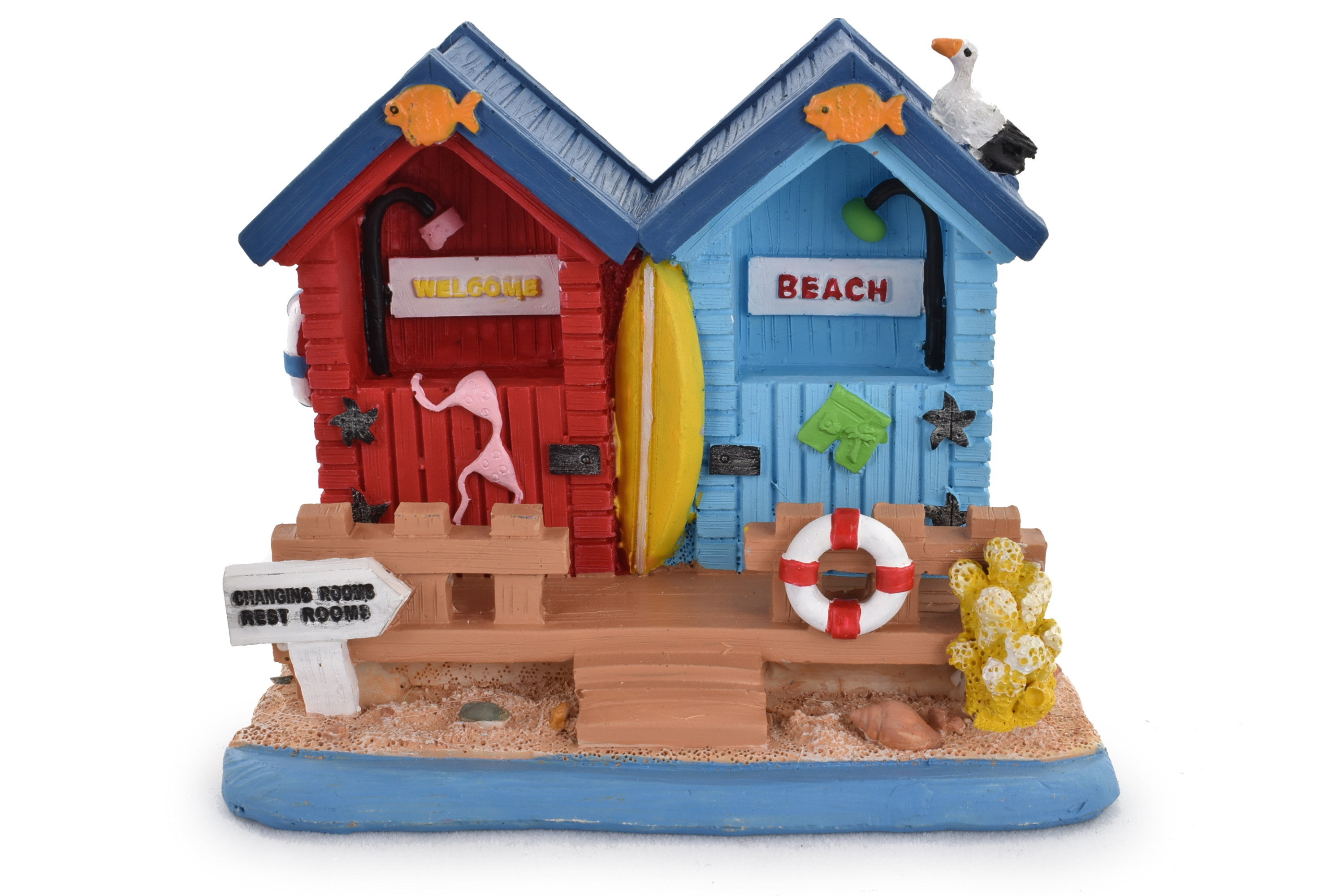 Double Beach Hut Ornament 9.5x8.5cm