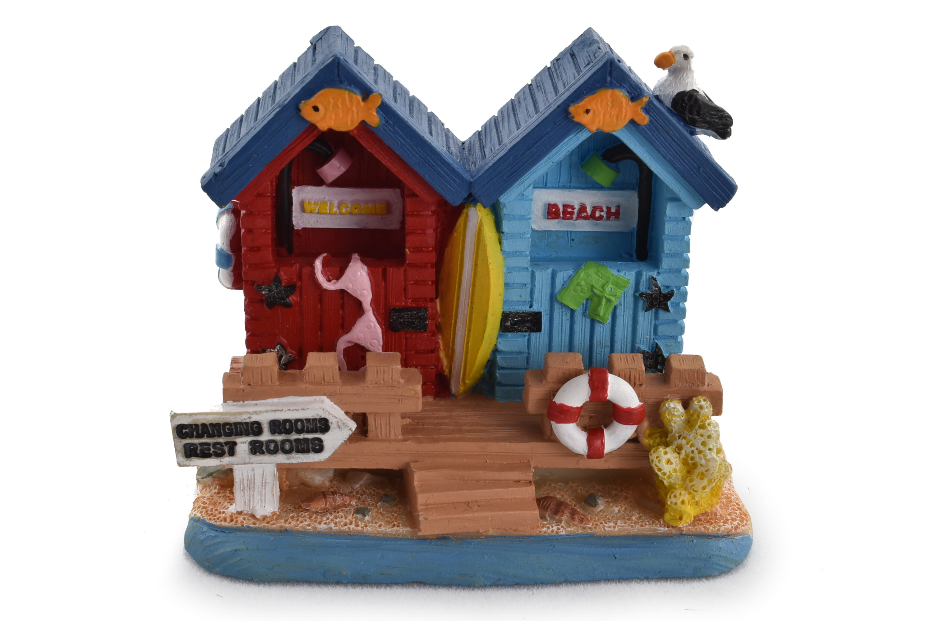 Double Beach Hut Ornament 6.2x5cm