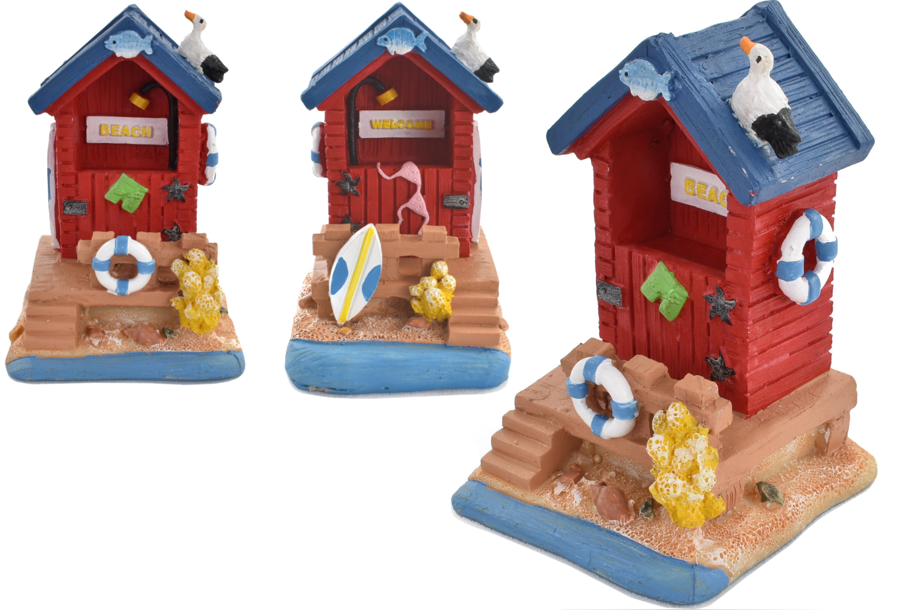 Beach Hut Ornament 7.8cm 2 Assorted Designs