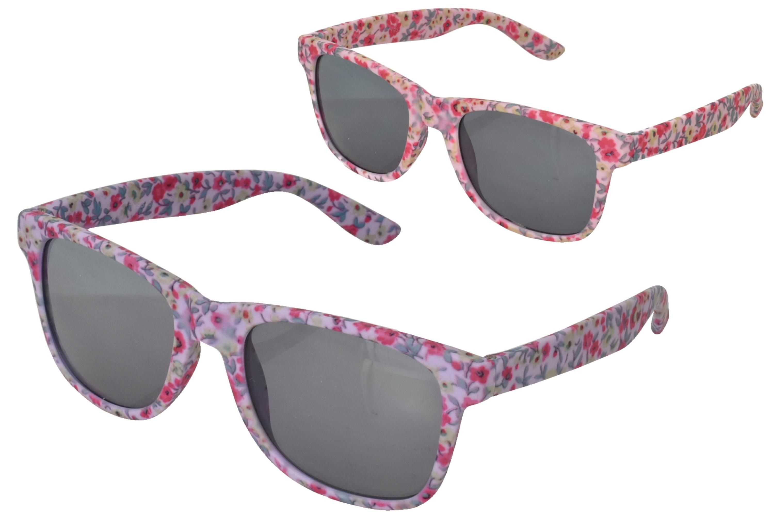 Girls Plastic Flower Print Wayfarer Sunglasses - 2 Asst