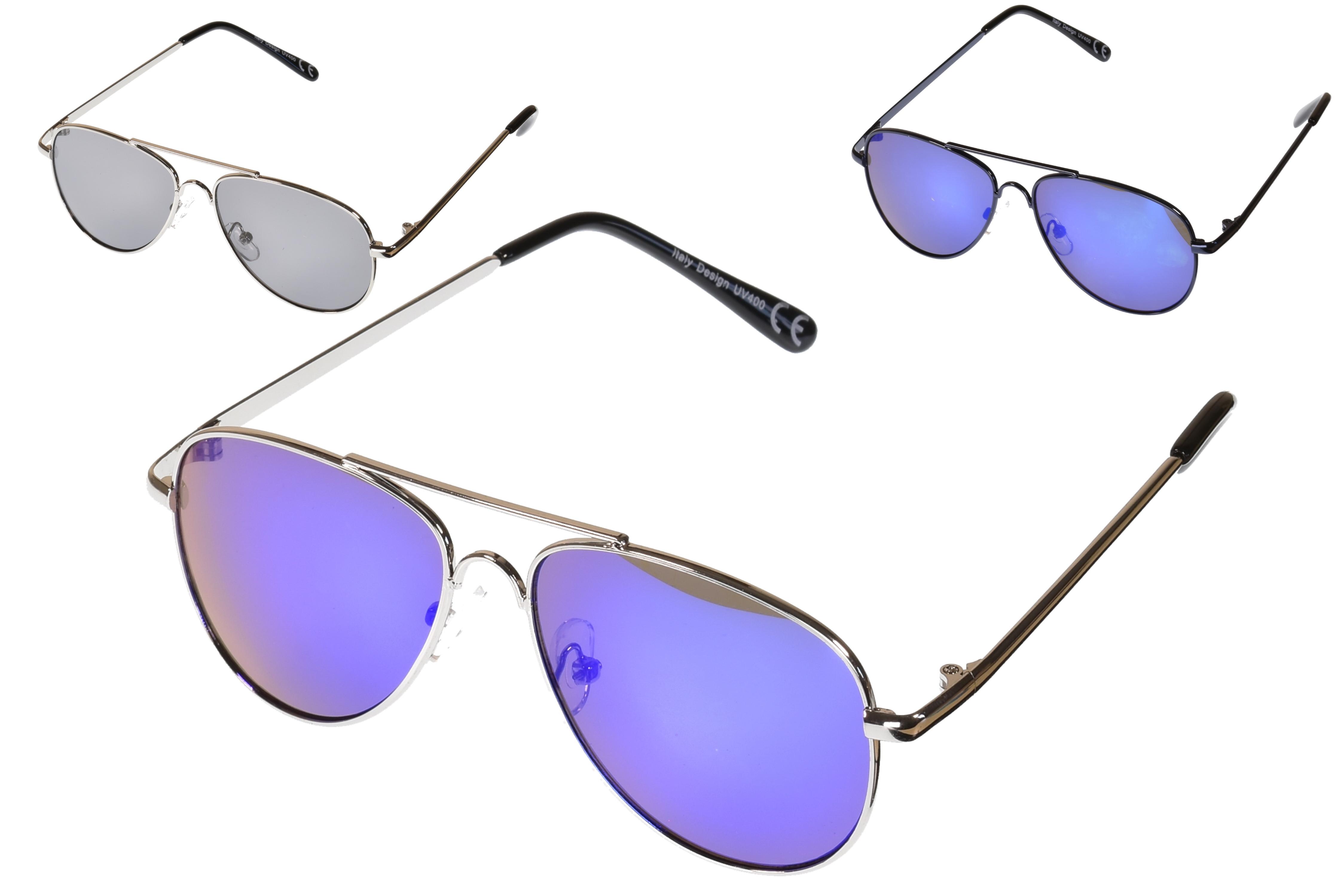 Kids Metal Frame Aviator Sunglasses - 3 Assorted