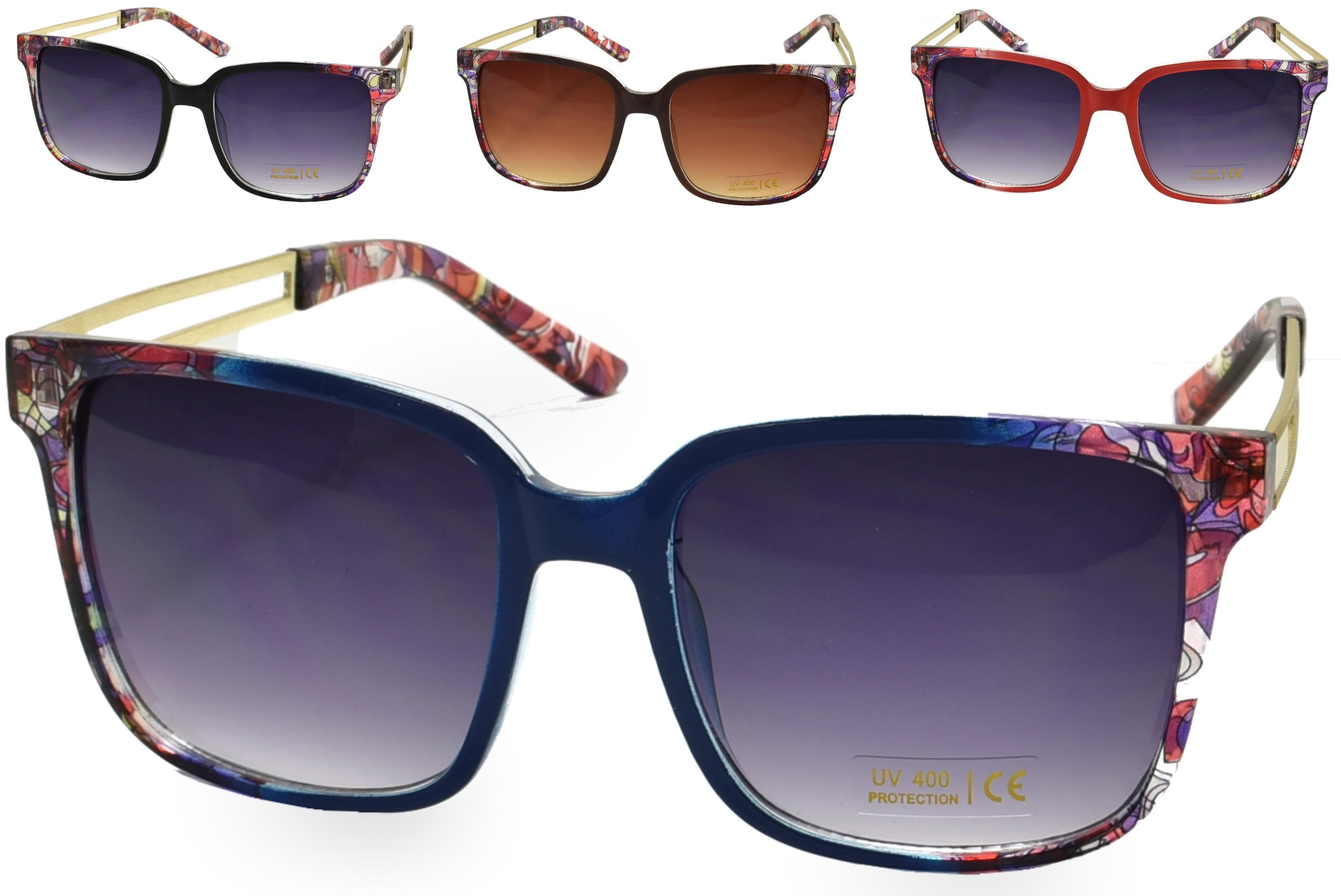 Ladies Metal Arm Sunglasses - 4 Assorted