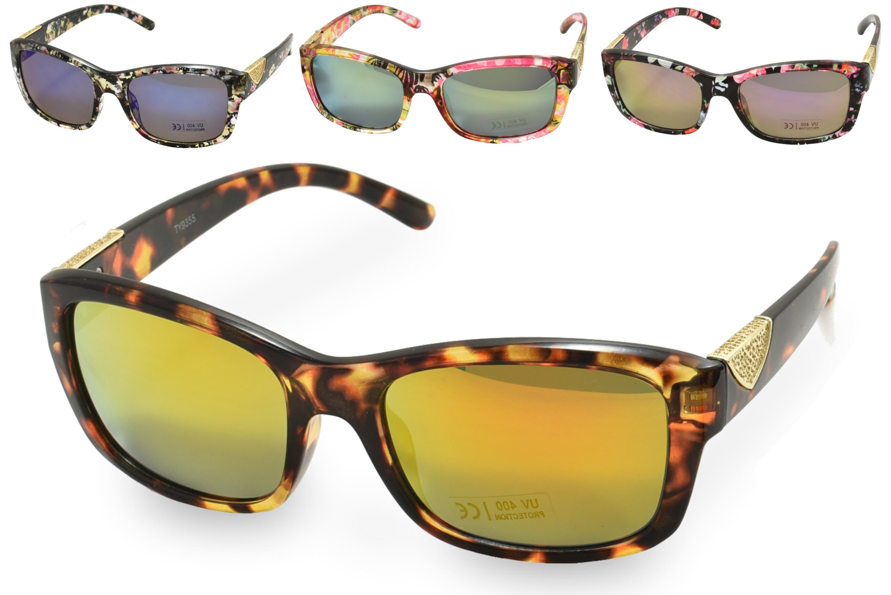 Ladies Plastic Printed Frame Sunglasses - 4 Assorted