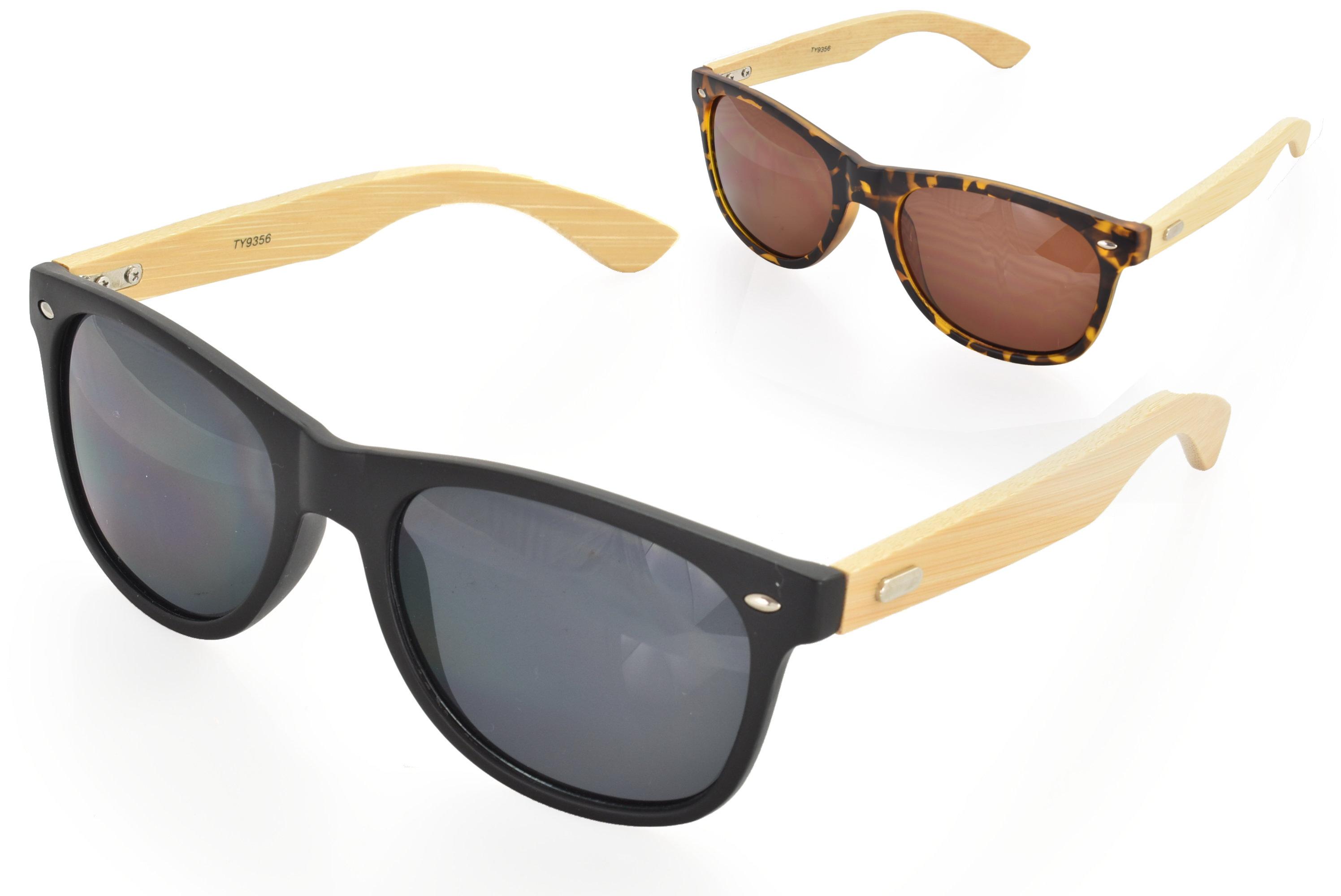 Adults Bamboo Arm Wayfarer Sunglasses - 2 Assorted