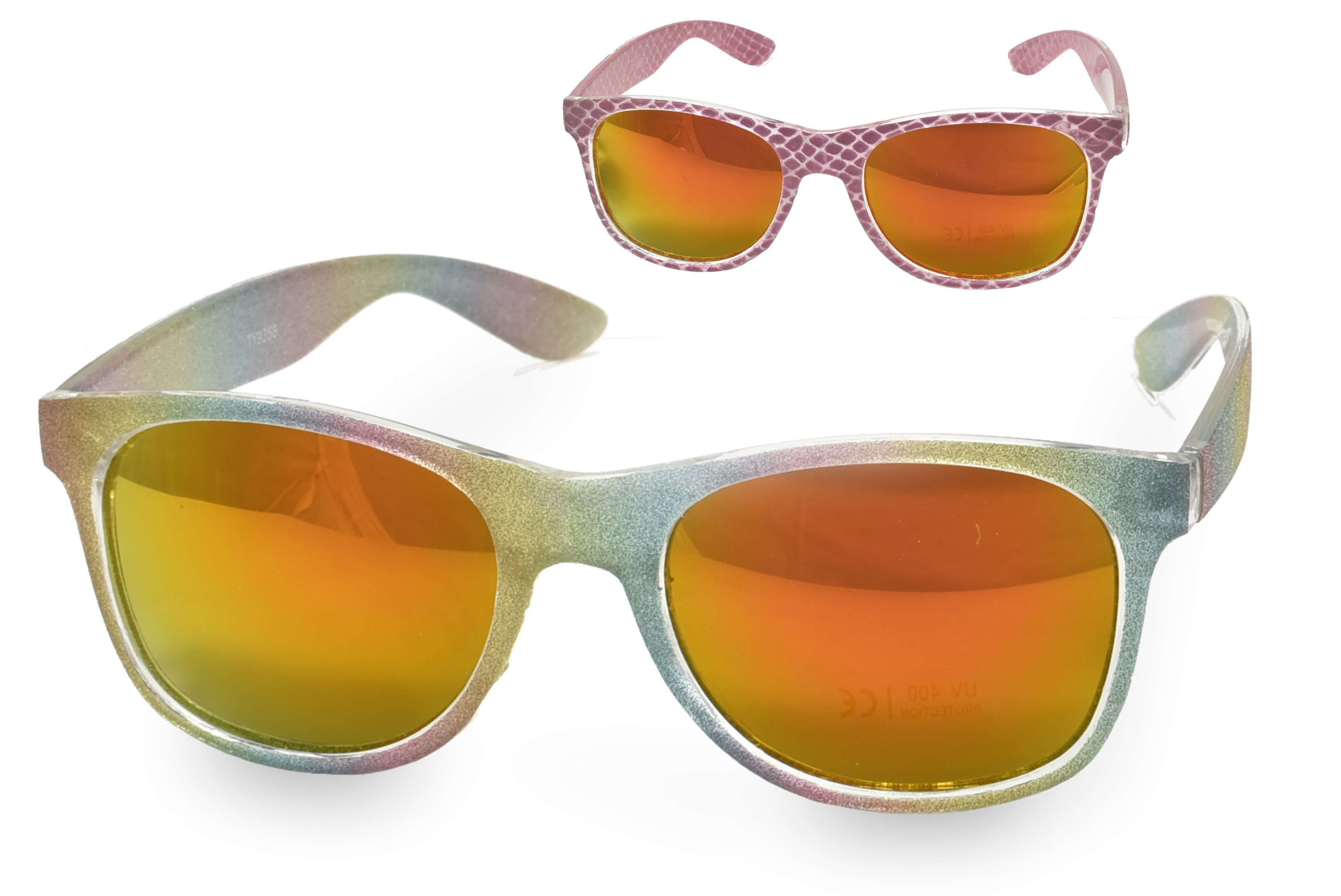 Ladies Plastic Glitter Sunglasses - 2 Assorted