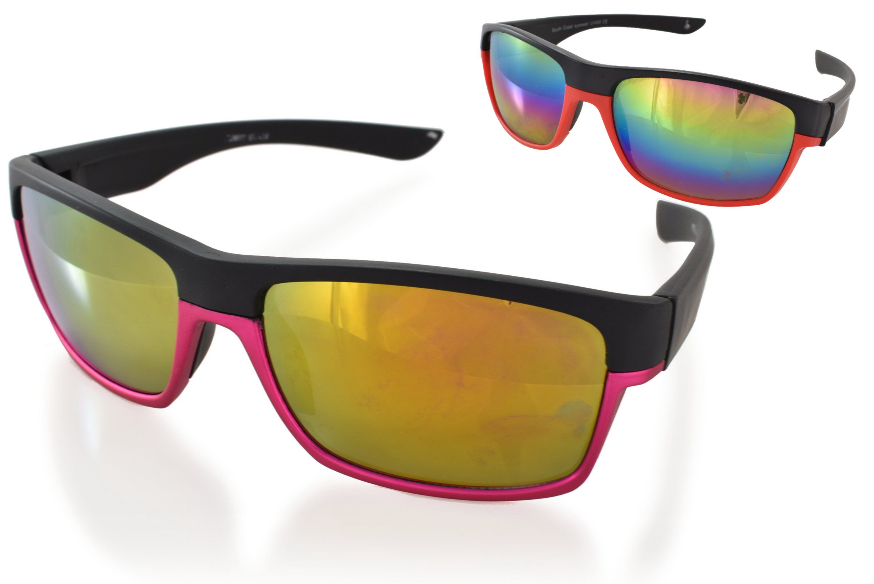Adults 2 Colour Frame Plastic Sunglasses - 4 Assorted