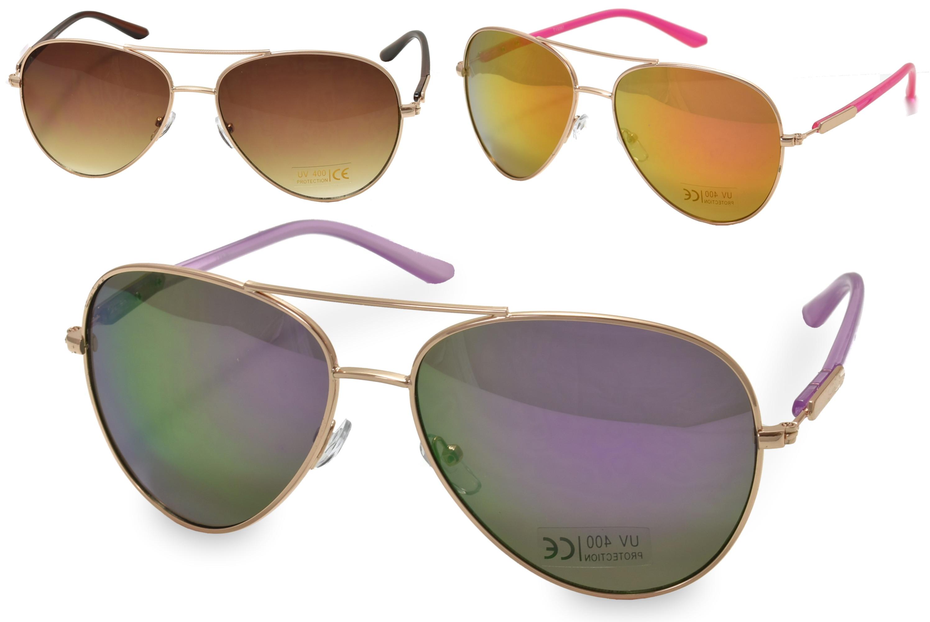 Adults Larger Lense Metal Frame Sunglasses - 4 Assorted