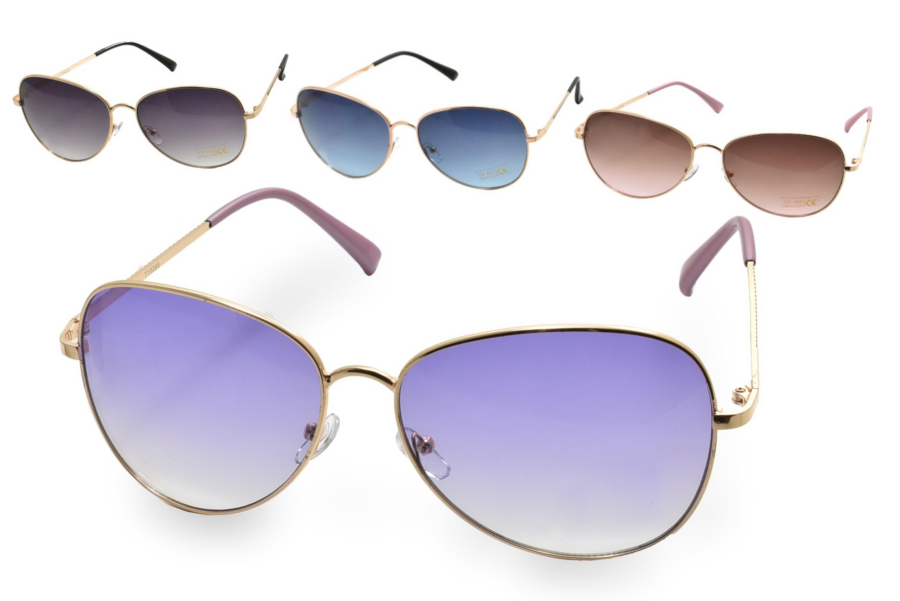 Ladies Metal Frame Sunglasses - 4 Assorted
