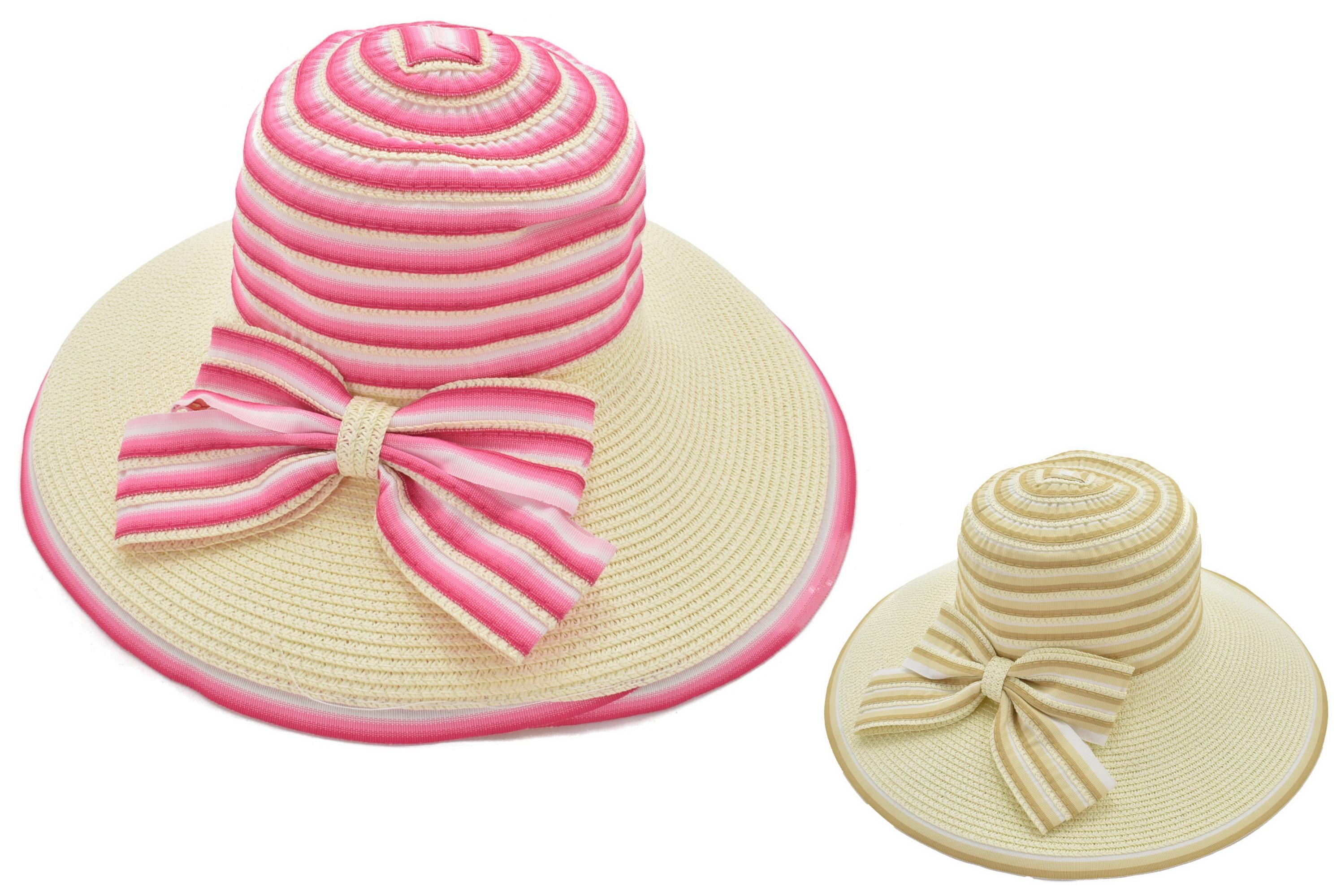 Ladies Wide Brim Fashion Floppy Hat Striped Box 2 Asst