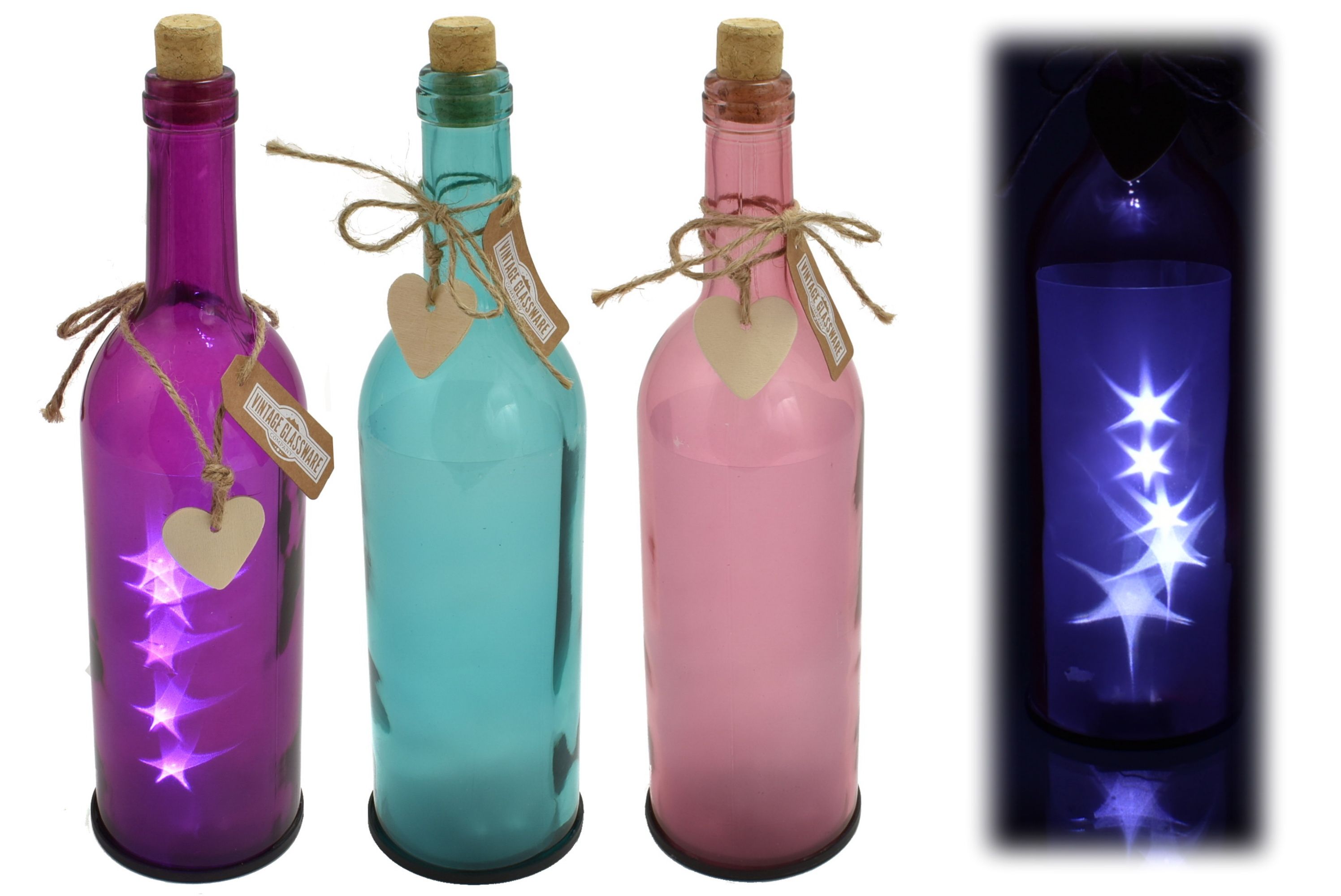 Glass Wine Bottle With Led Lights 3 Assorted